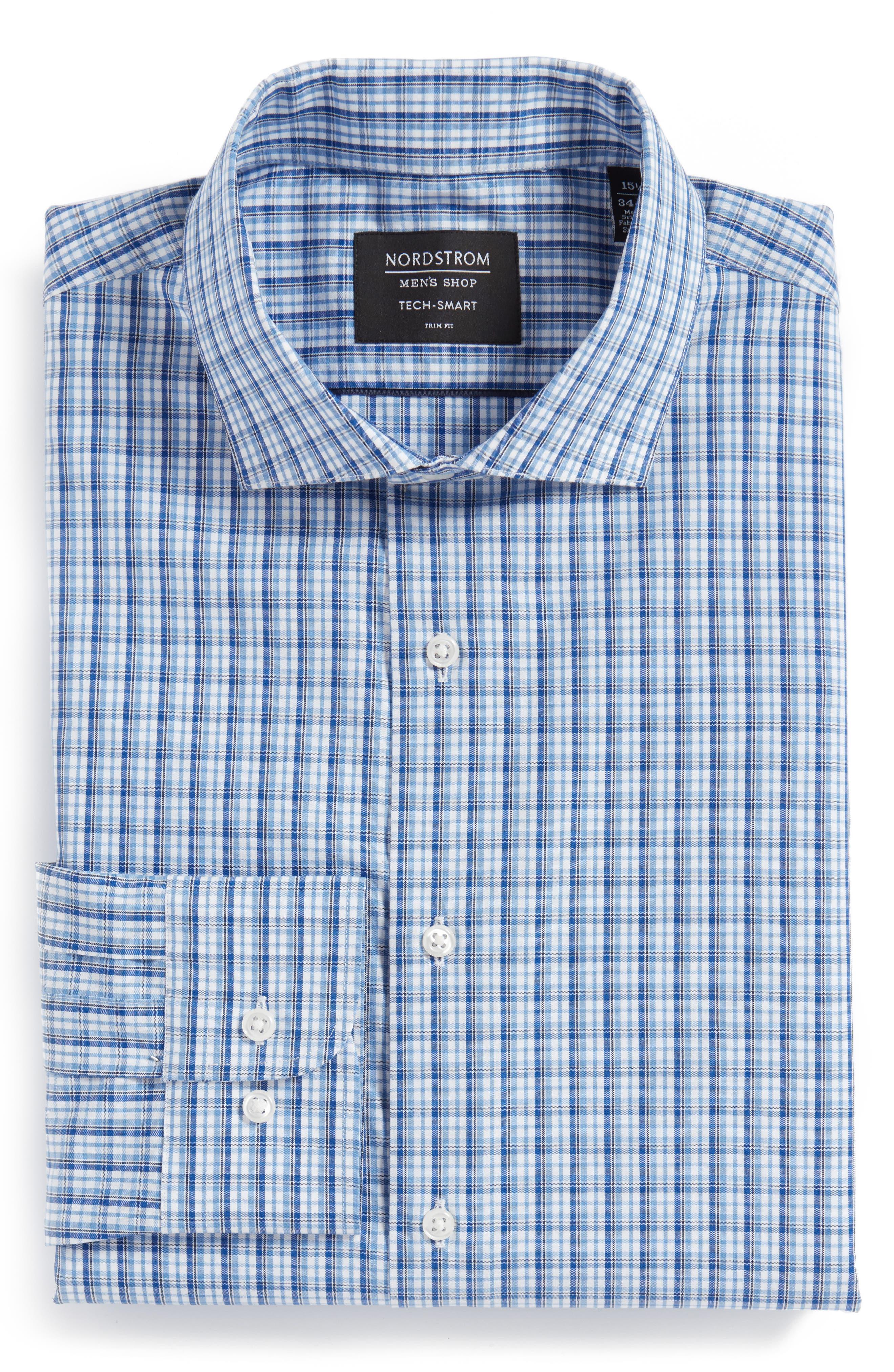 Main Image - Nordstrom Men's Shop Tech-Smart Trim Fit Stretch Check Dress Shirt
