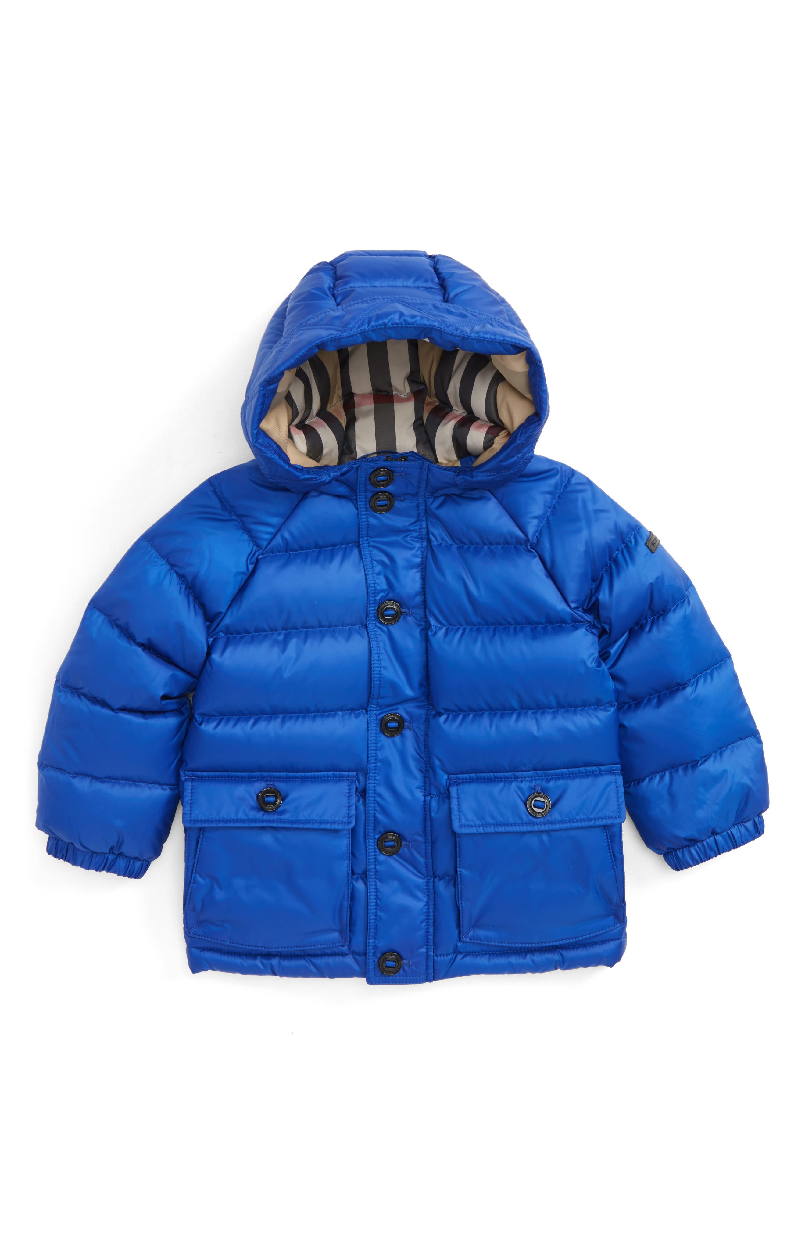 Mini Lachlan Hooded Down Jacket,                         Main,                         color, Brilliant Blue