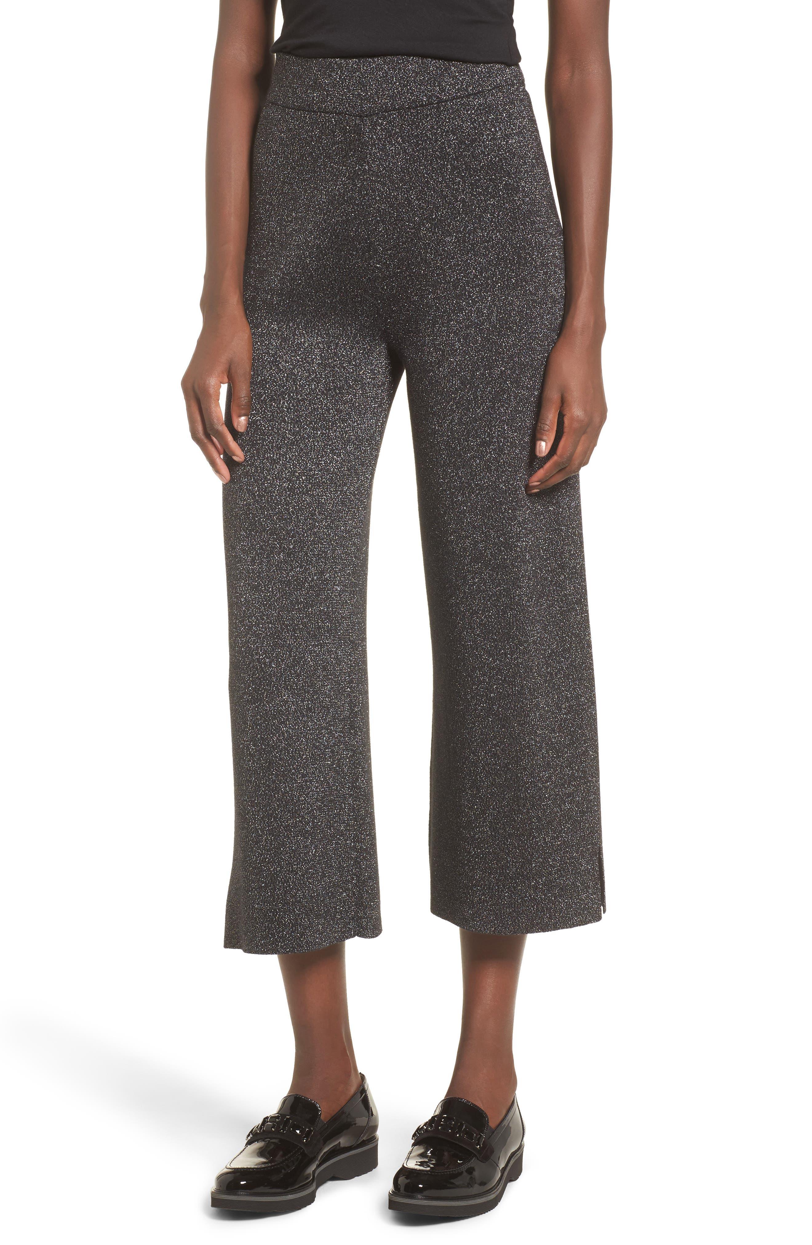 Metallic Crop Pants,                         Main,                         color, Black Metallic