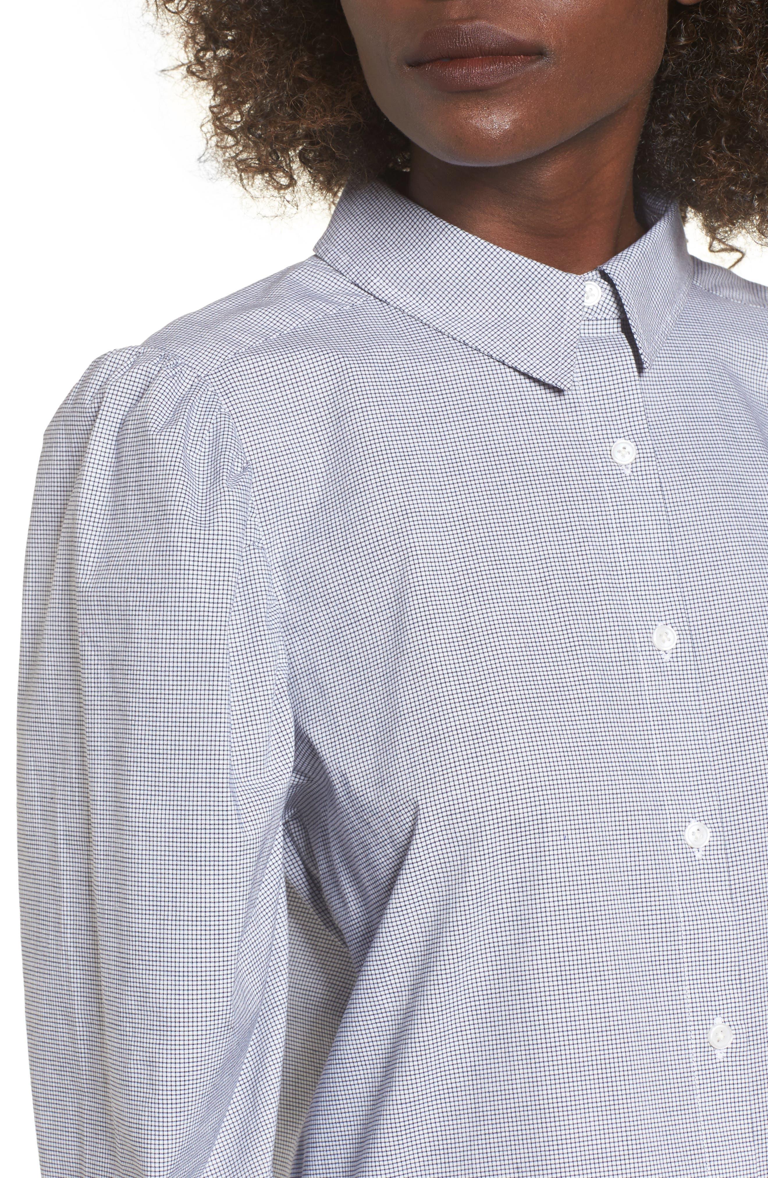 Puff Sleeve Top,                             Alternate thumbnail 4, color,                             Navy Evening Jillian Grid