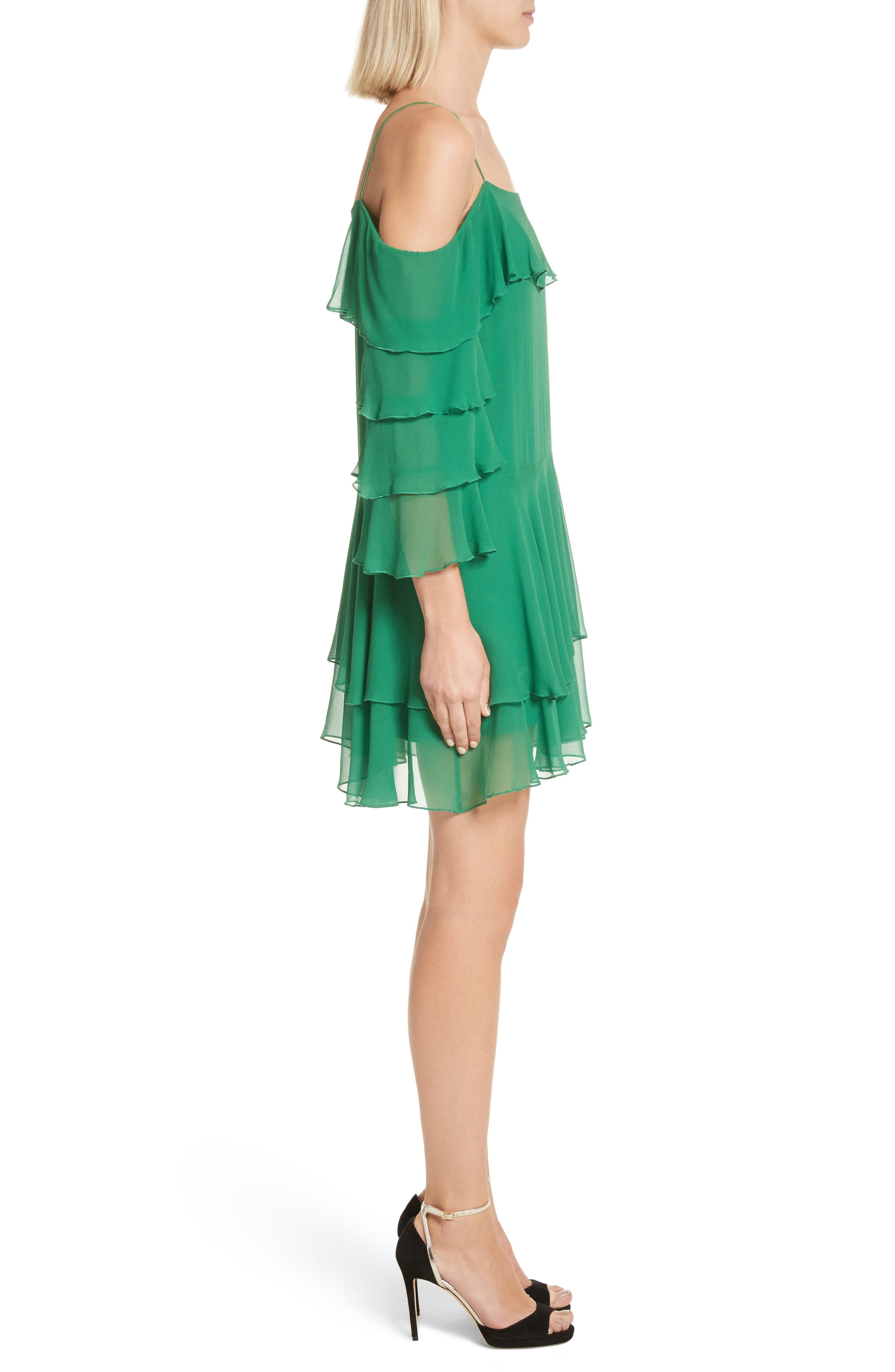 Alternate Image 3  - Alice + Olivia Lexis Lyrd Silk Cold Shoulder Ruffle Dress