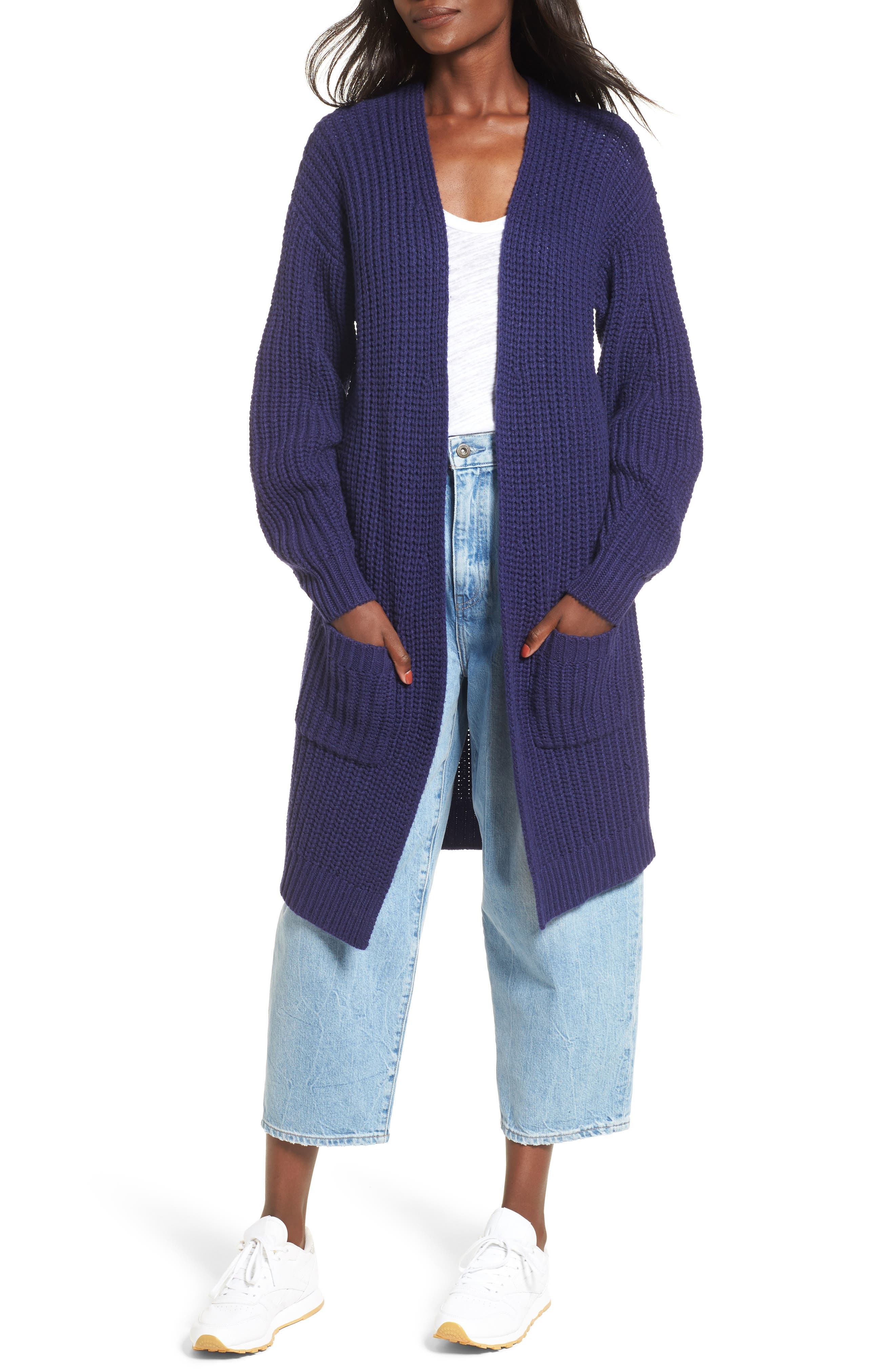 Shaped Sleeve Longline Cardigan,                         Main,                         color, Purple Amethyst