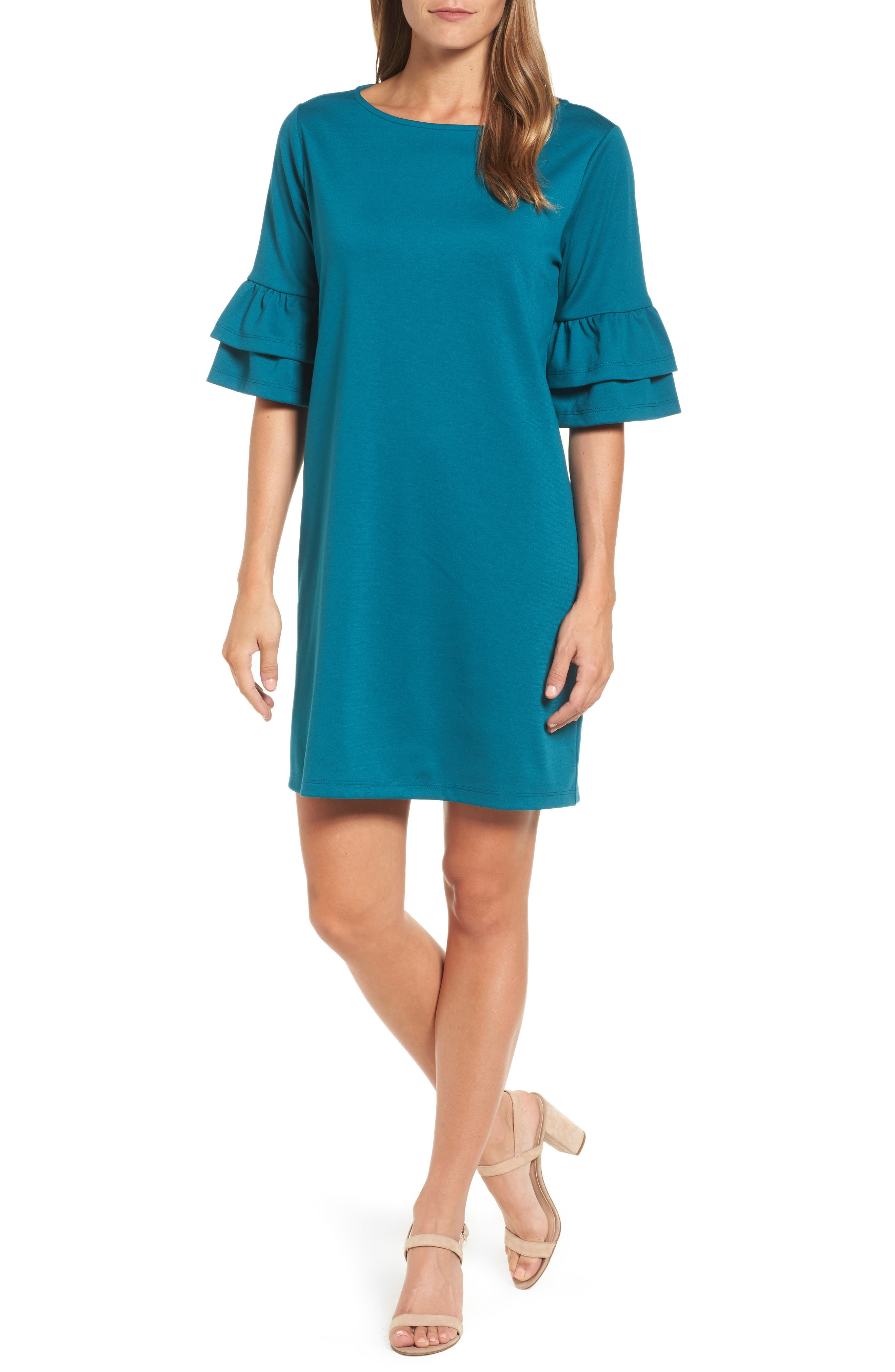 Ruffle Sleeve Shift Dress,                         Main,                         color, Teal