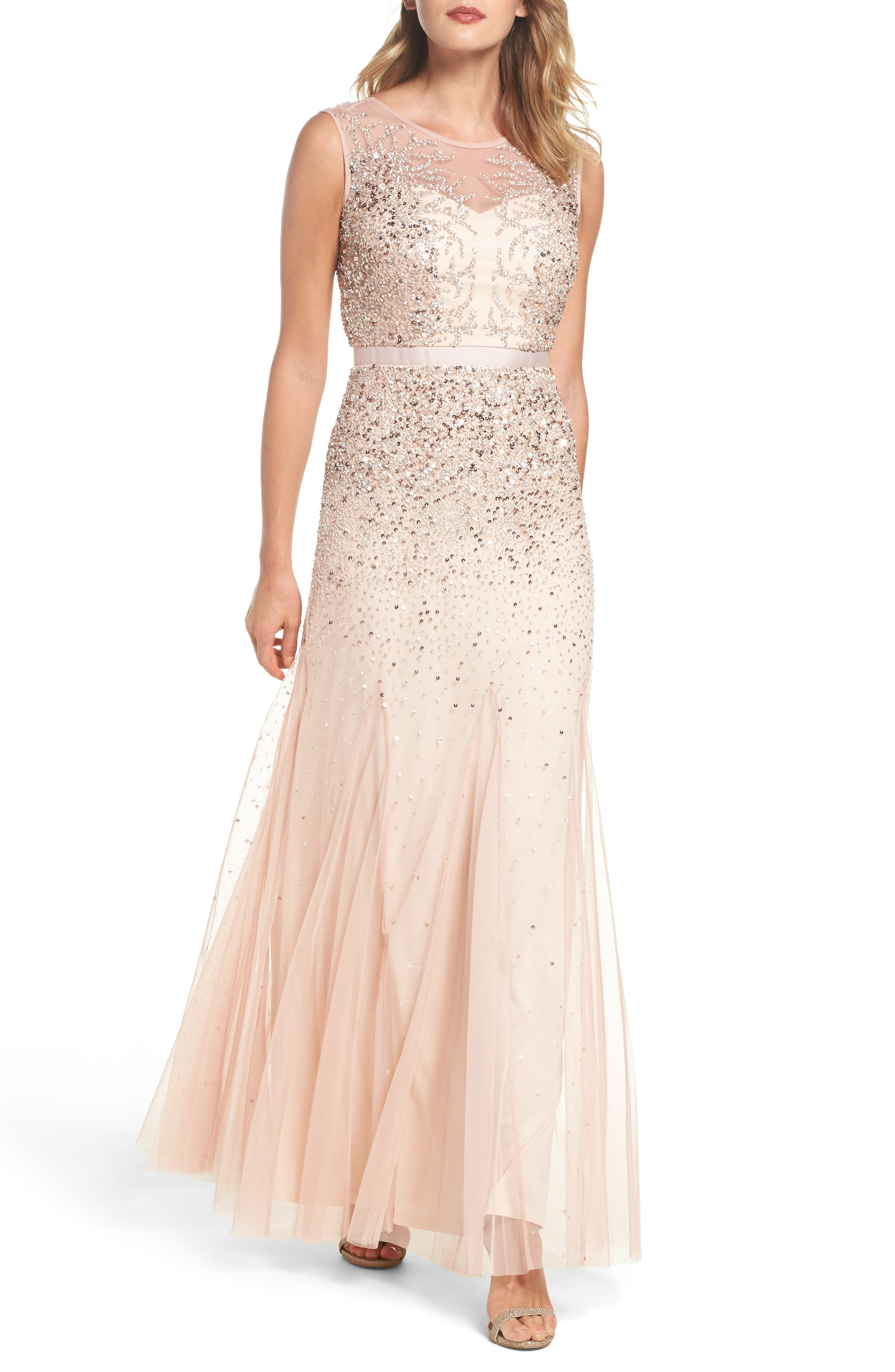 Beaded Chiffon Gown,                         Main,                         color, Blush