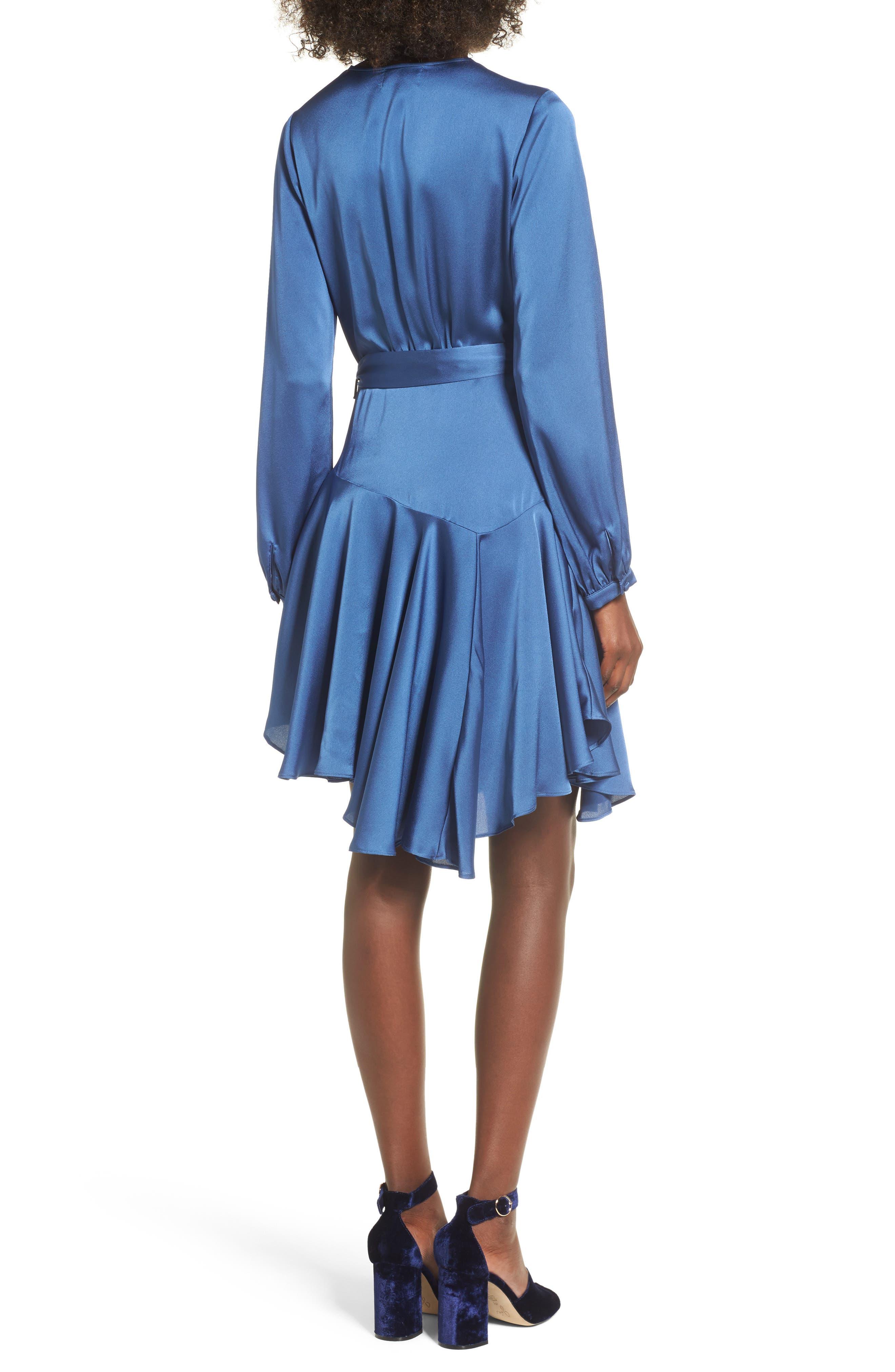 Elsa Satin Ruffle Wrap Minidress,                             Alternate thumbnail 3, color,                             Blue