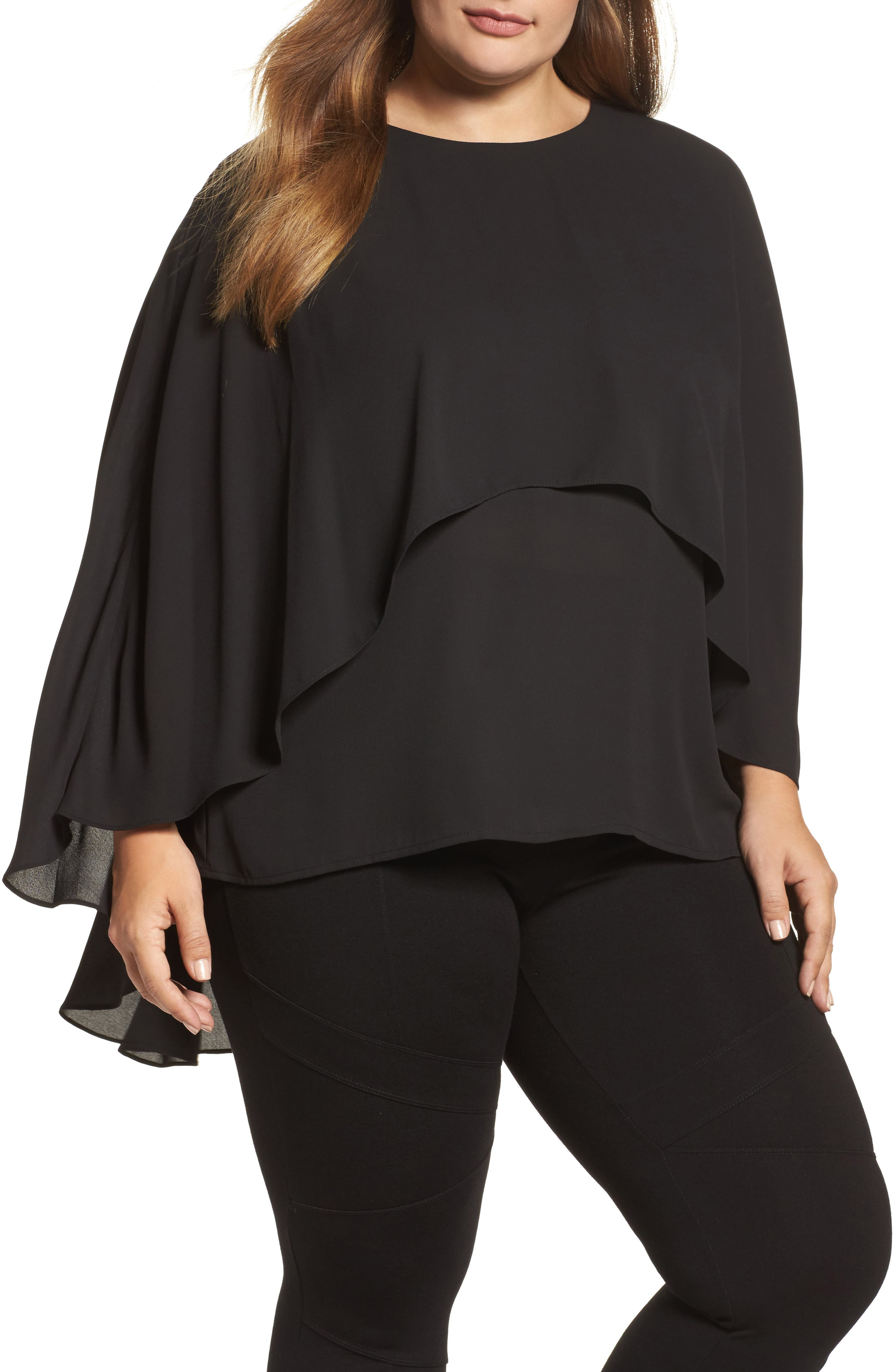 Vince Camuto Cape Overlay Blouse (Plus Size)