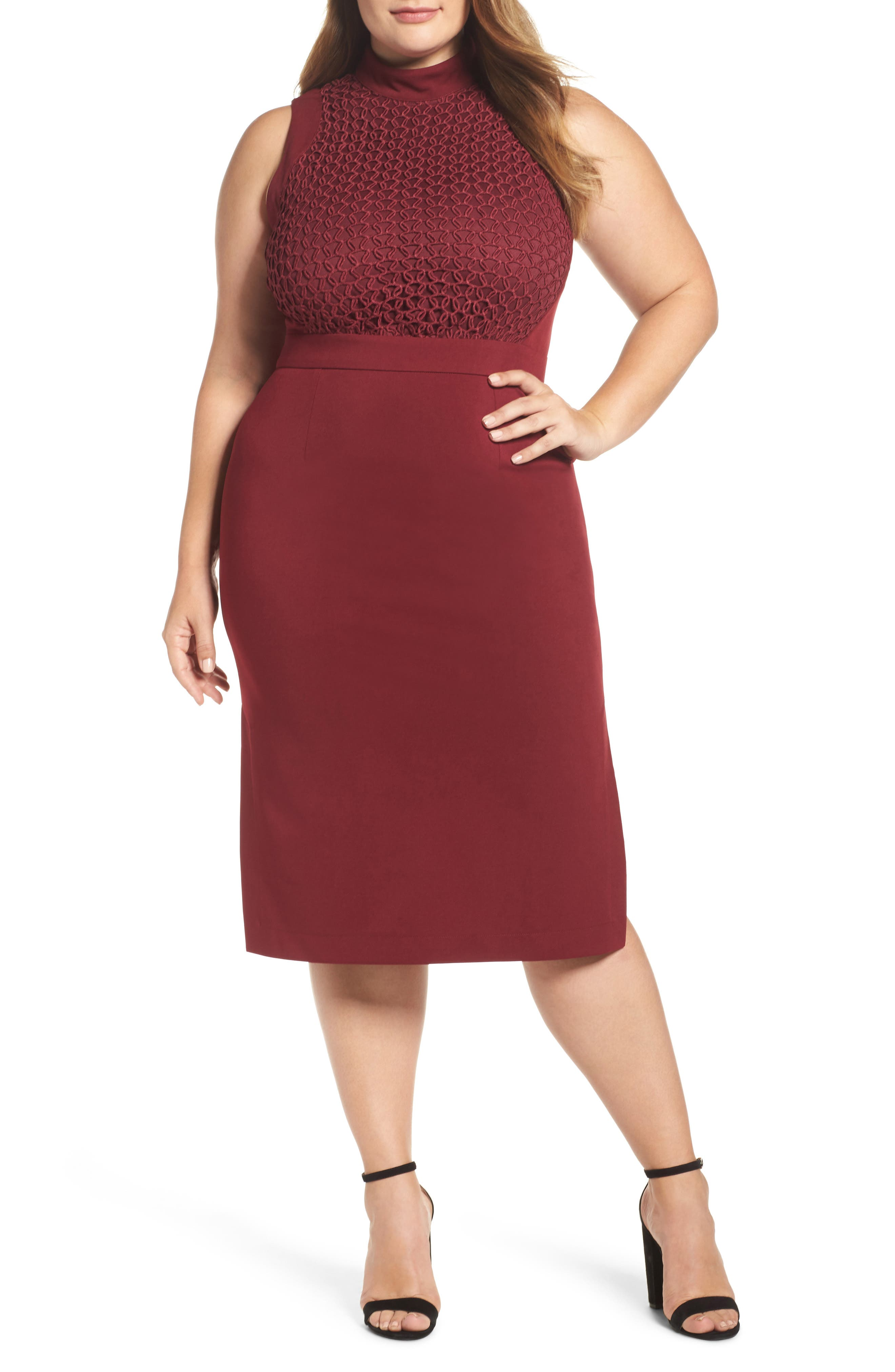 Main Image - LOST INK Textured Sheath Dress (Plus Size)