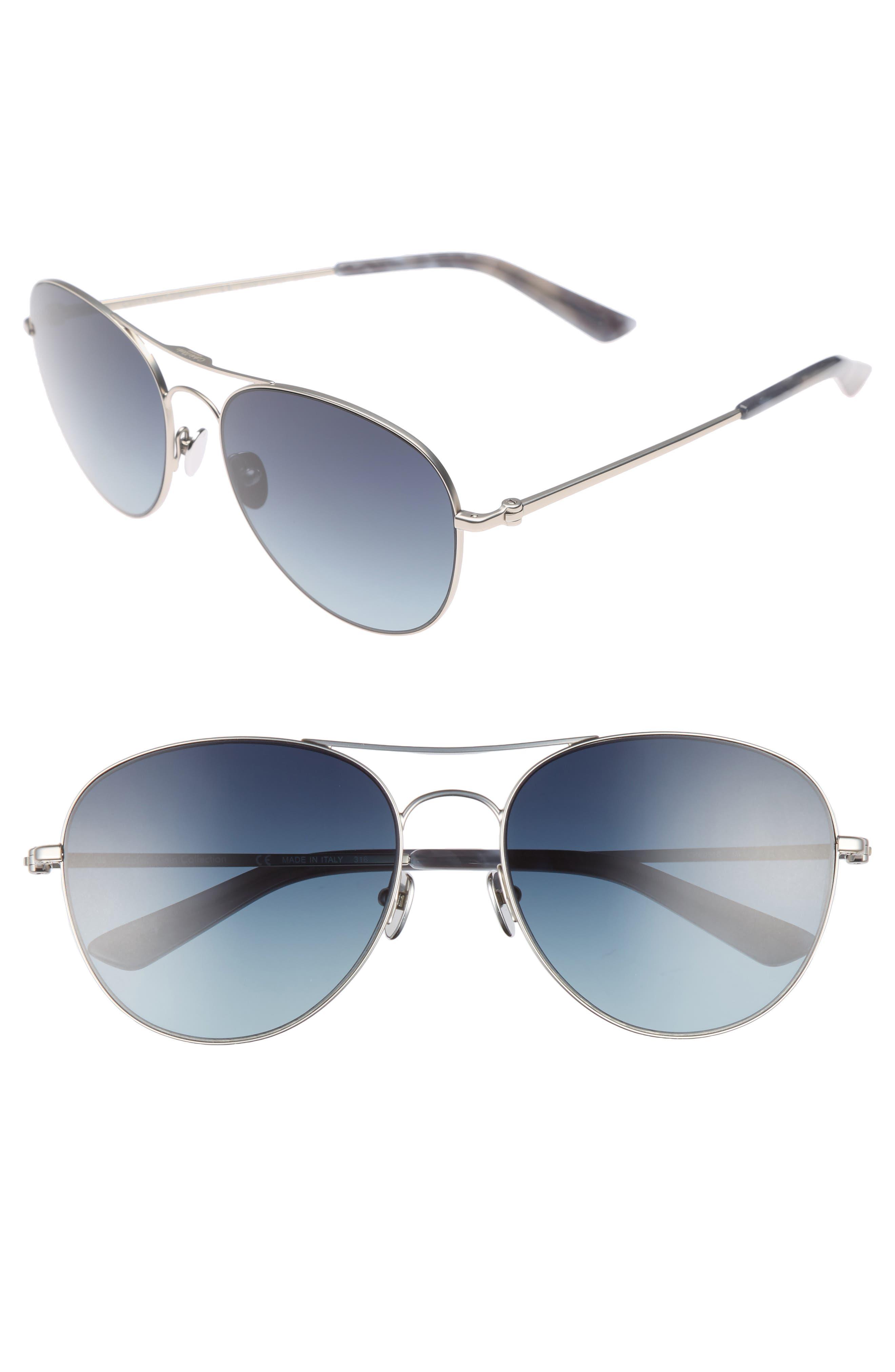 57mm Aviator Sunglasses,                             Main thumbnail 1, color,                             Satin Nickel
