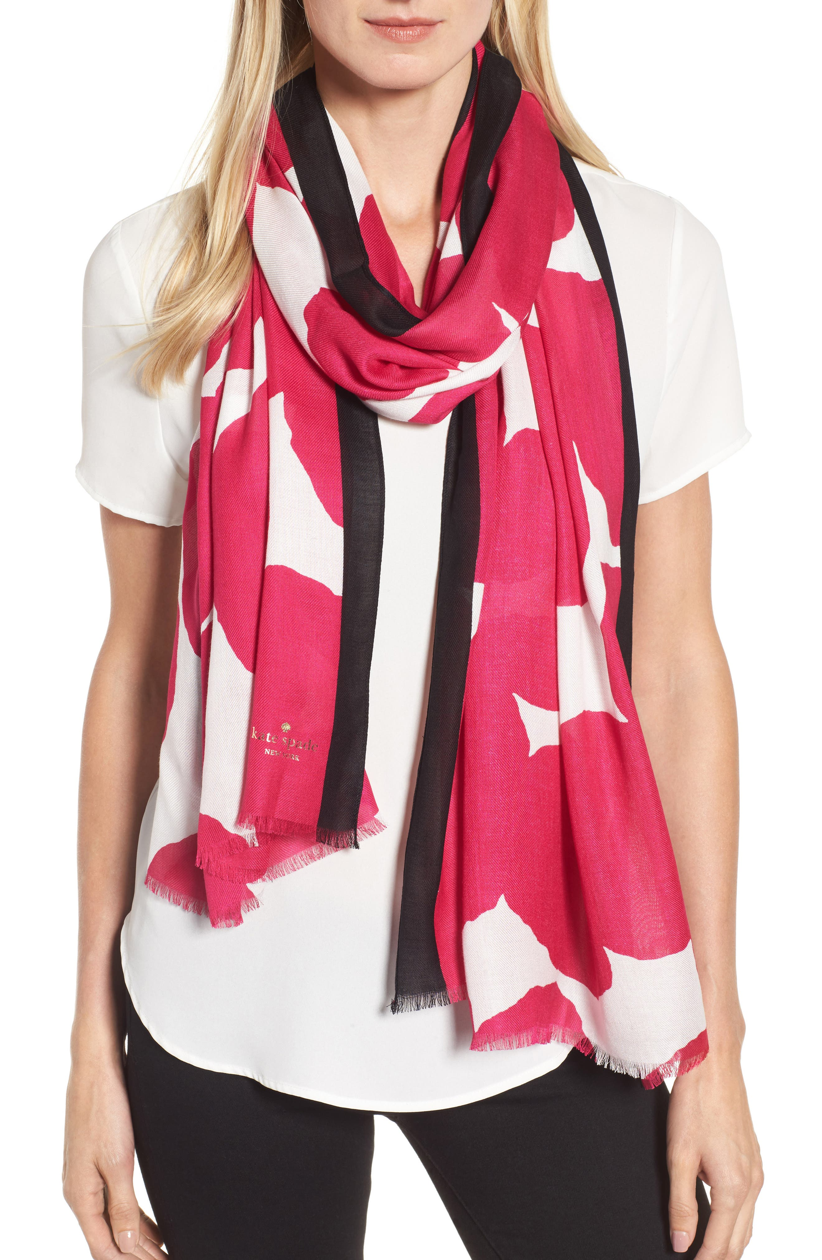 large dot oblong scarf,                             Main thumbnail 1, color,                             Cabaret Pink