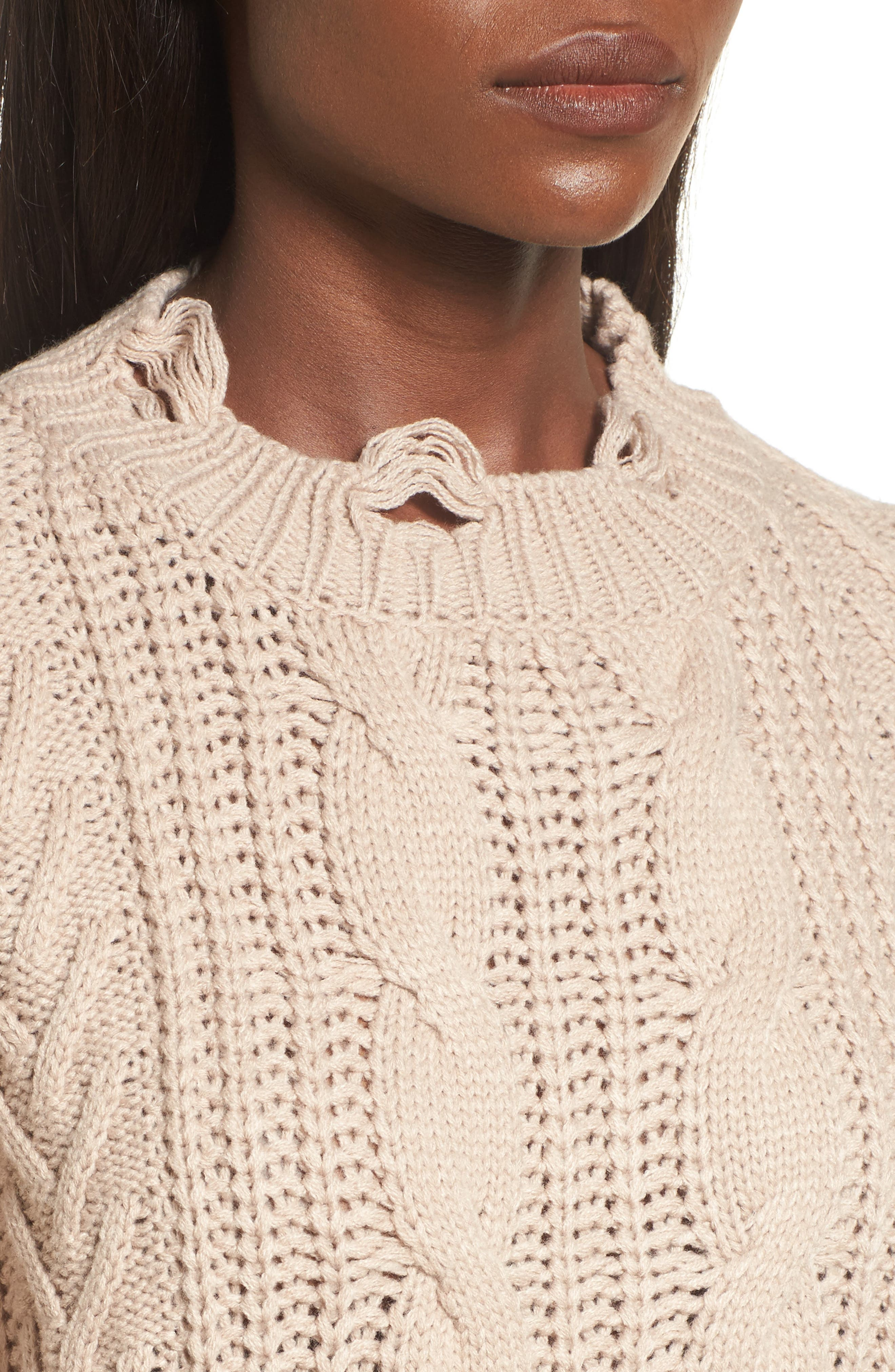 Distressed Cable Knit Sweater,                             Alternate thumbnail 4, color,                             Mocha