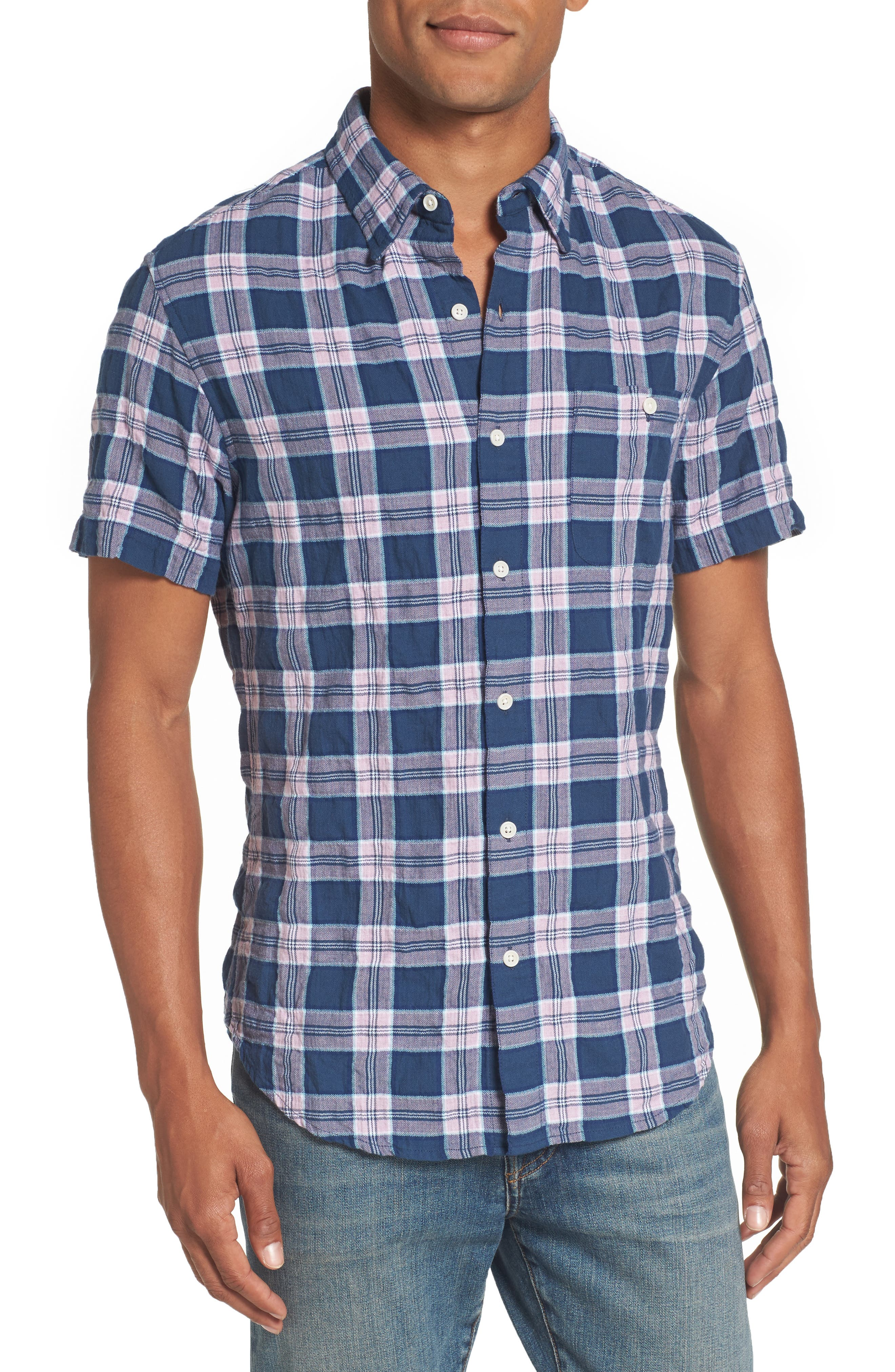 Riviera Slim Fit Plaid Woven Shirt,                             Main thumbnail 1, color,                             Crinkle Blue Pine Plaid