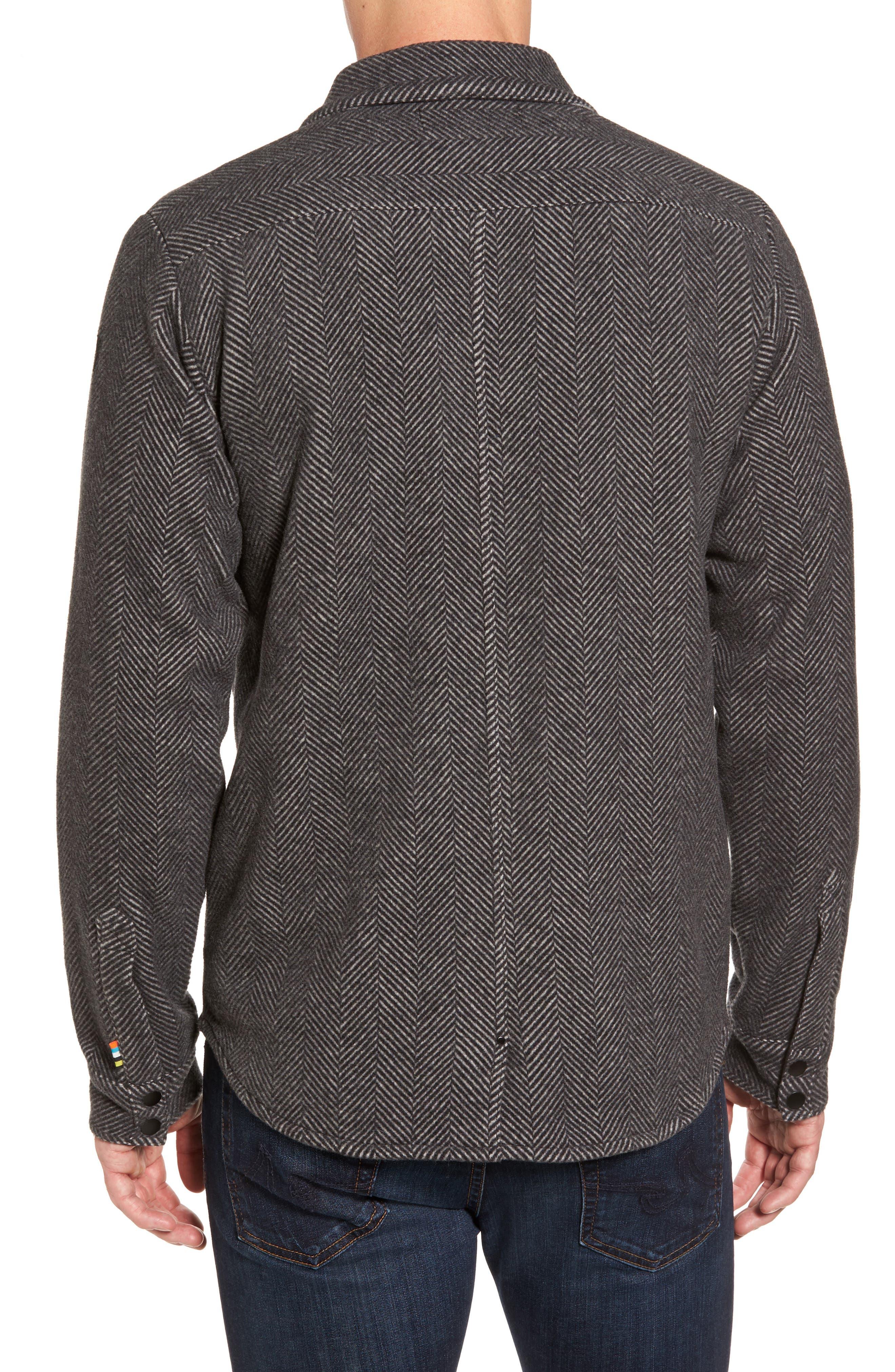 Anchor Line Herringbone Wool Blend Shirt Jacket,                             Alternate thumbnail 2, color,                             Charcoal Heather