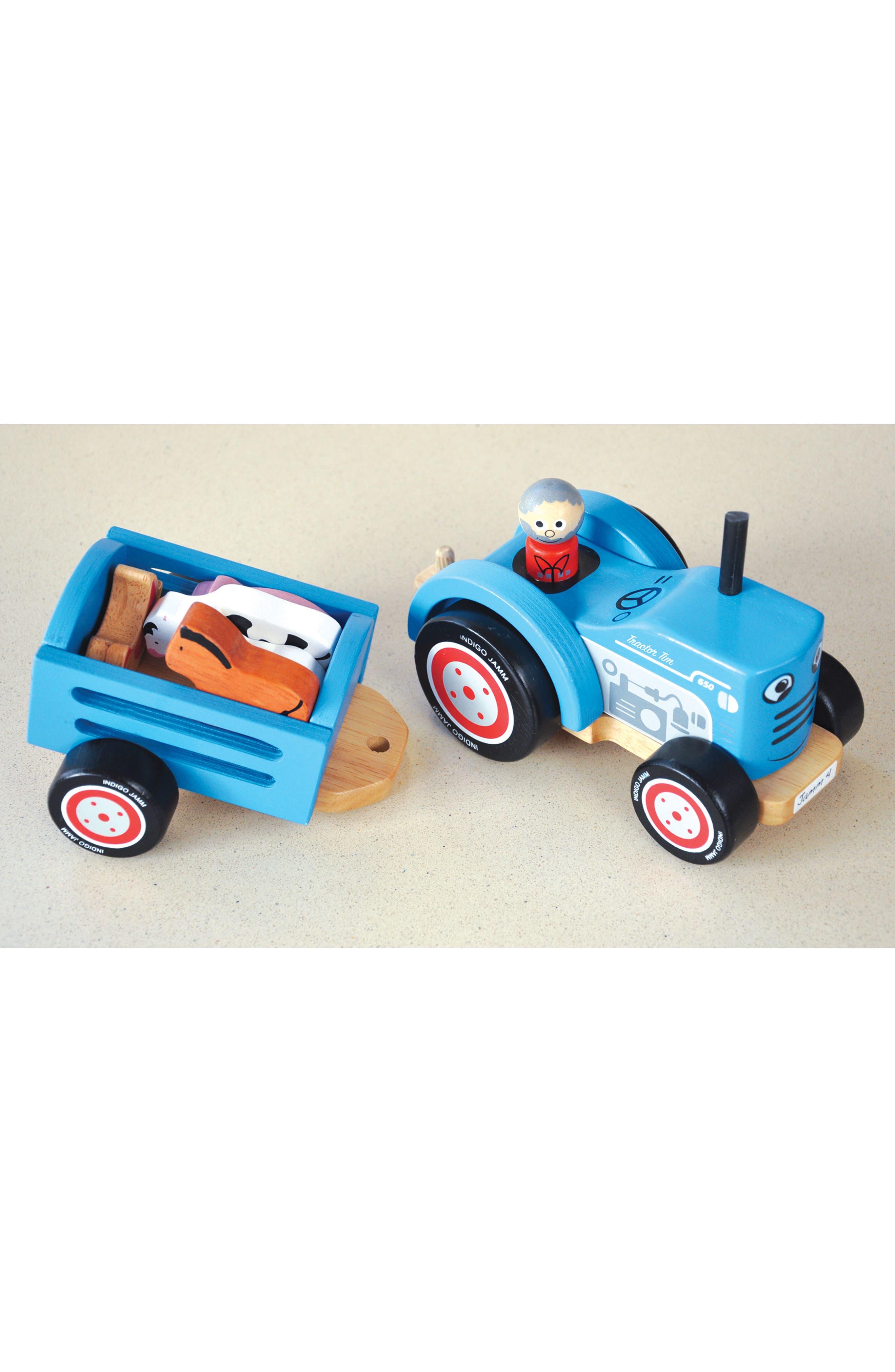 Wooden 8-Piece Farm Tractor Play Set,                             Alternate thumbnail 2, color,                             Blue