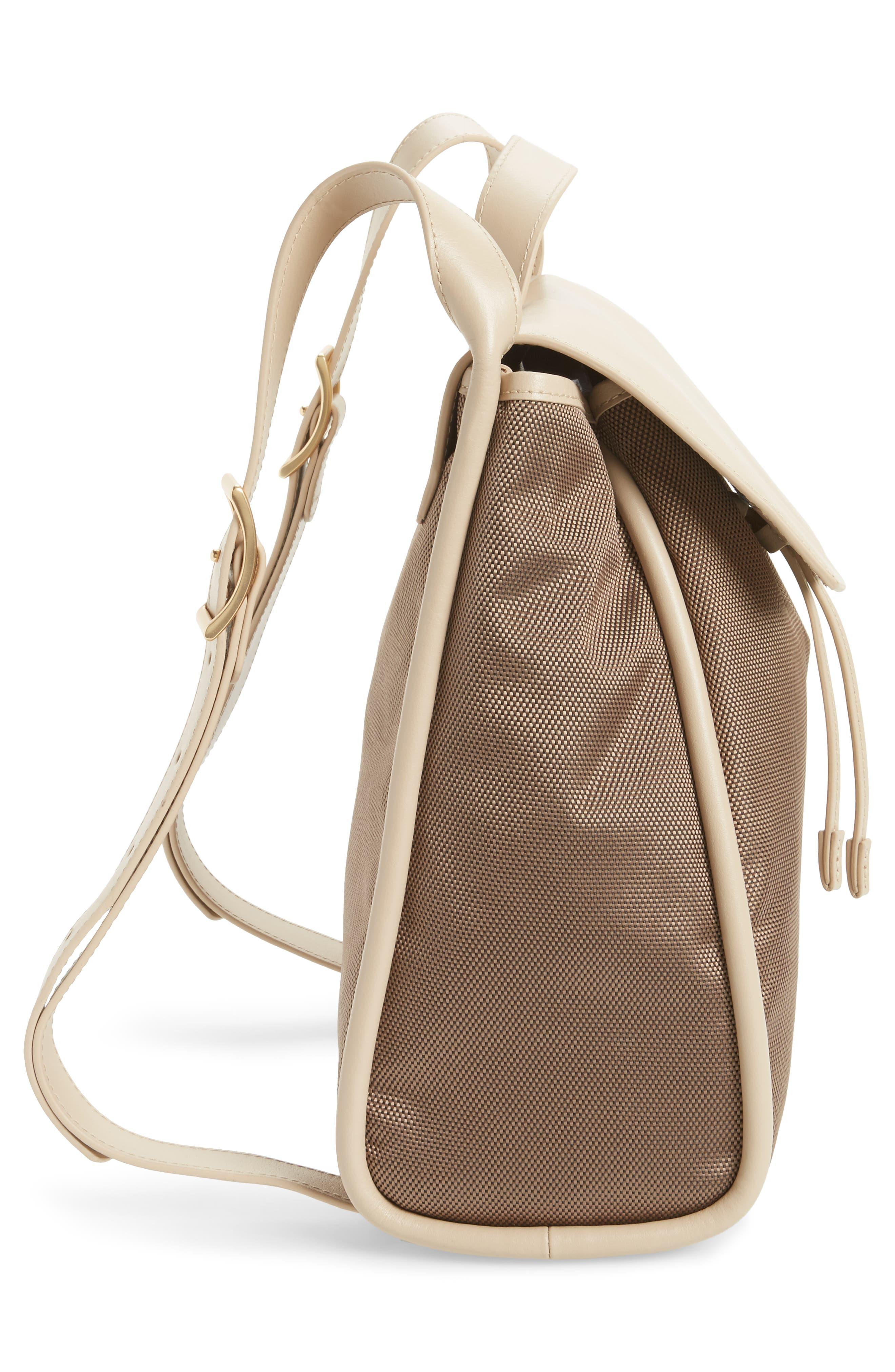 Ebba Leather & Canvas Backpack,                             Alternate thumbnail 4, color,                             Dark Khaki