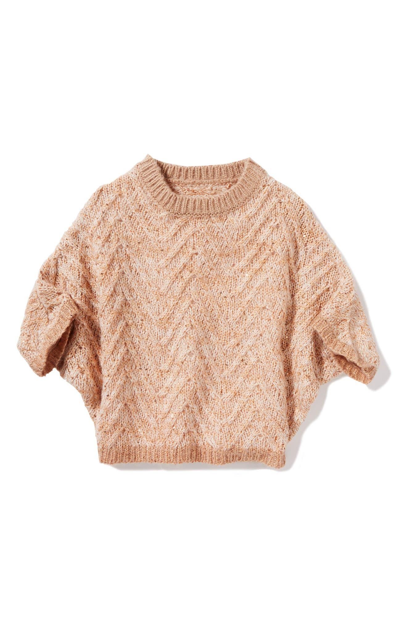 Olivia Chevron Stripe Sweater,                         Main,                         color, Peach