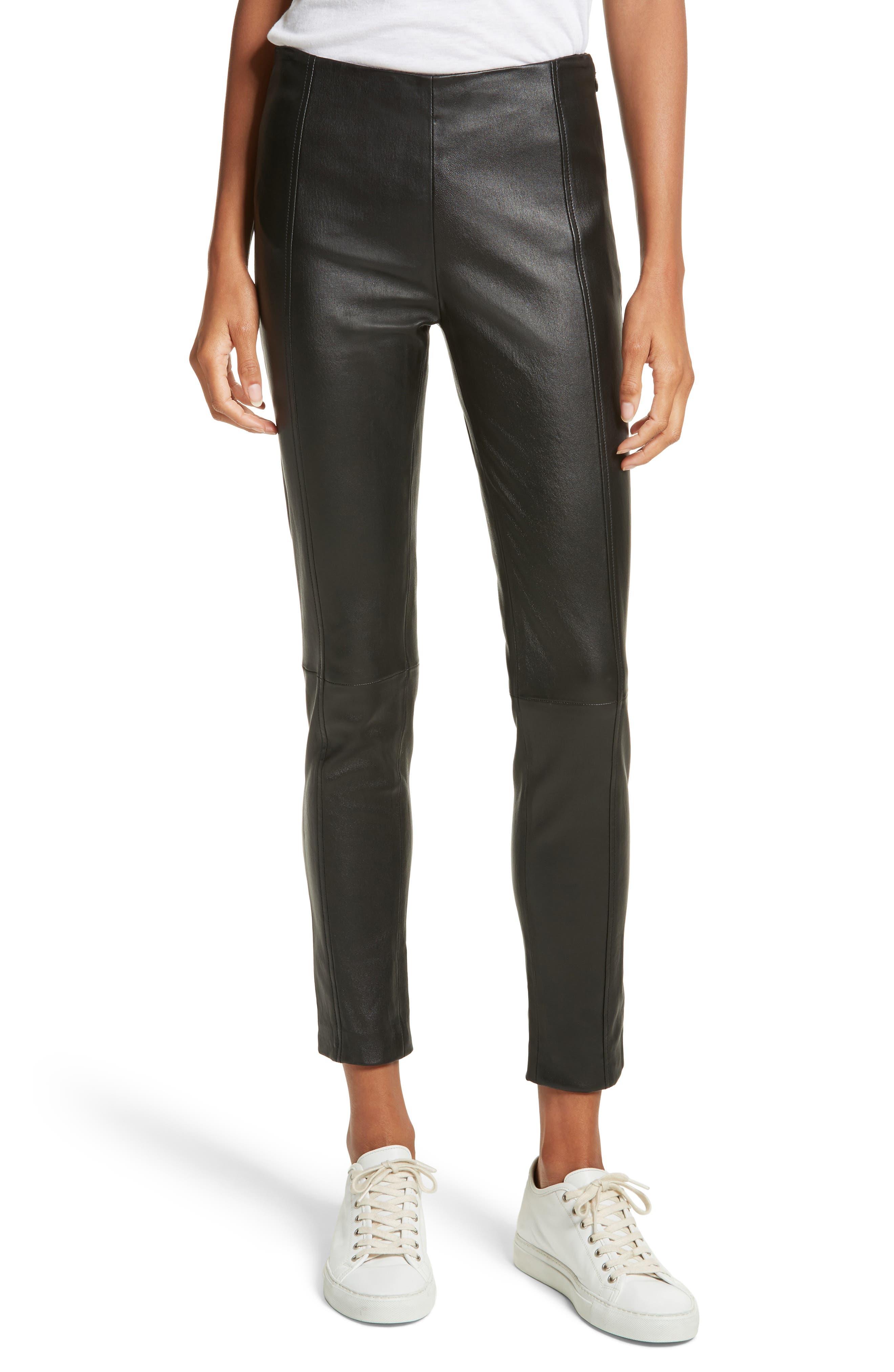 Stretch Leather Leggings,                         Main,                         color, Black