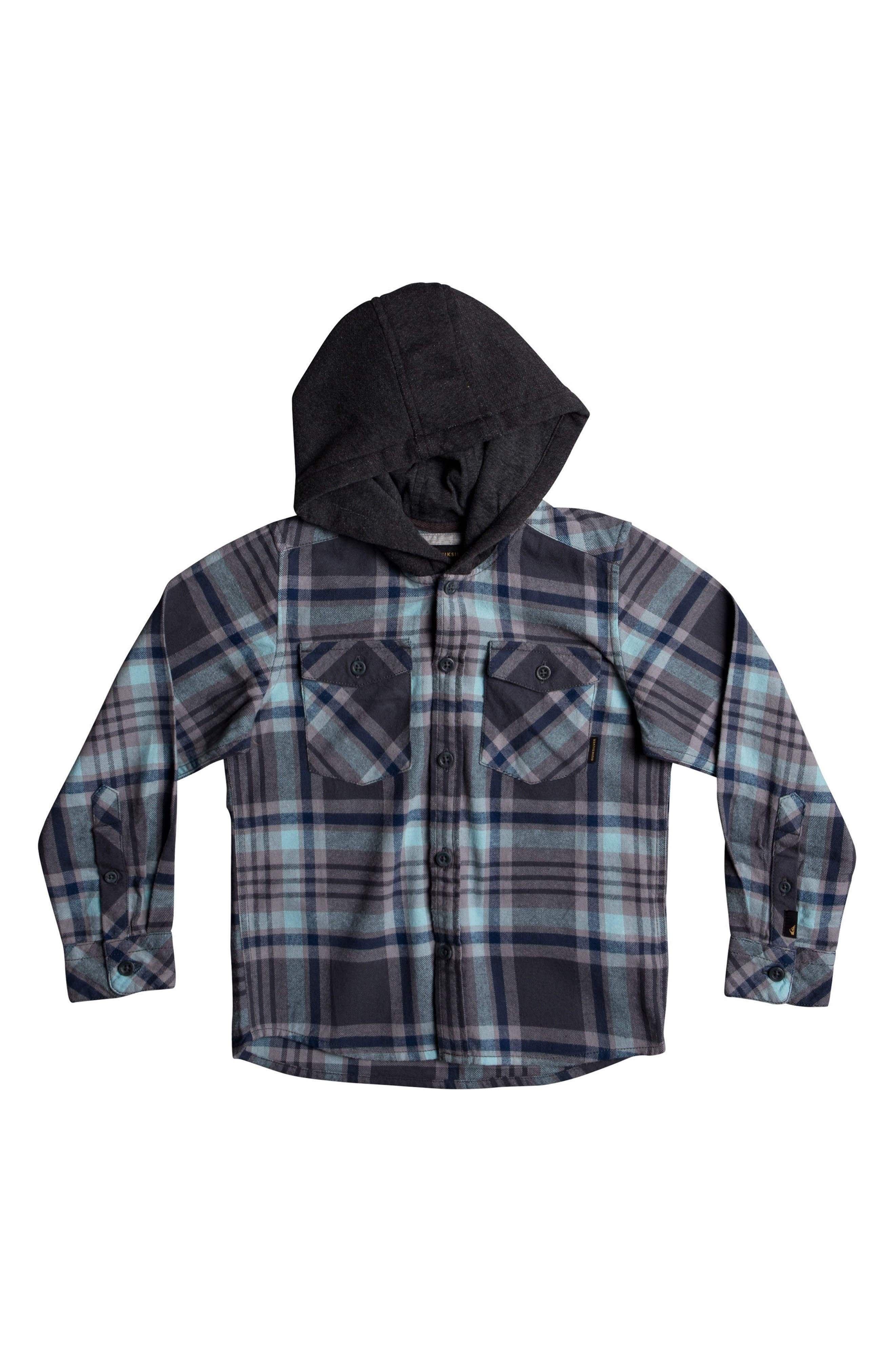 Main Image - Quiksilver Hooded Plaid Flannel Shirt (Toddler Boys & Little Boys)