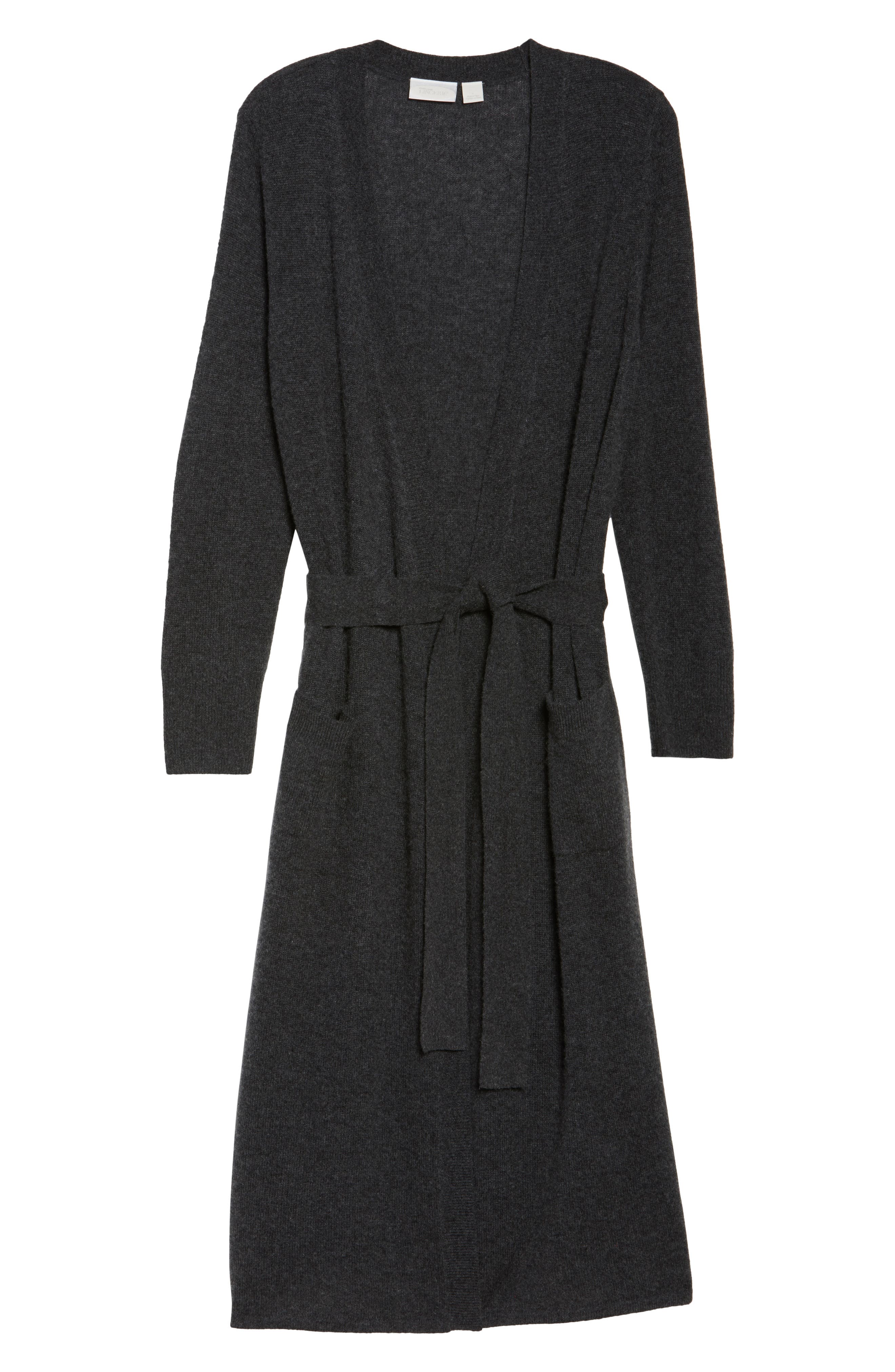 Cashmere Robe,                             Alternate thumbnail 4, color,                             Charcoal