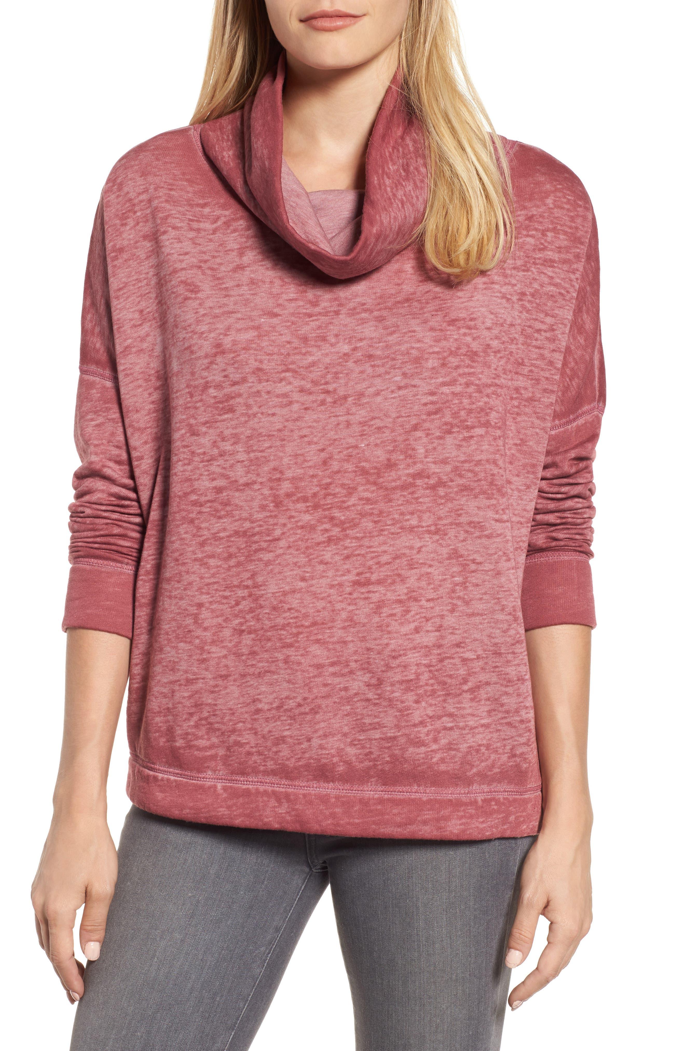 Caslon® Burnout Back Pleat Sweatshirt