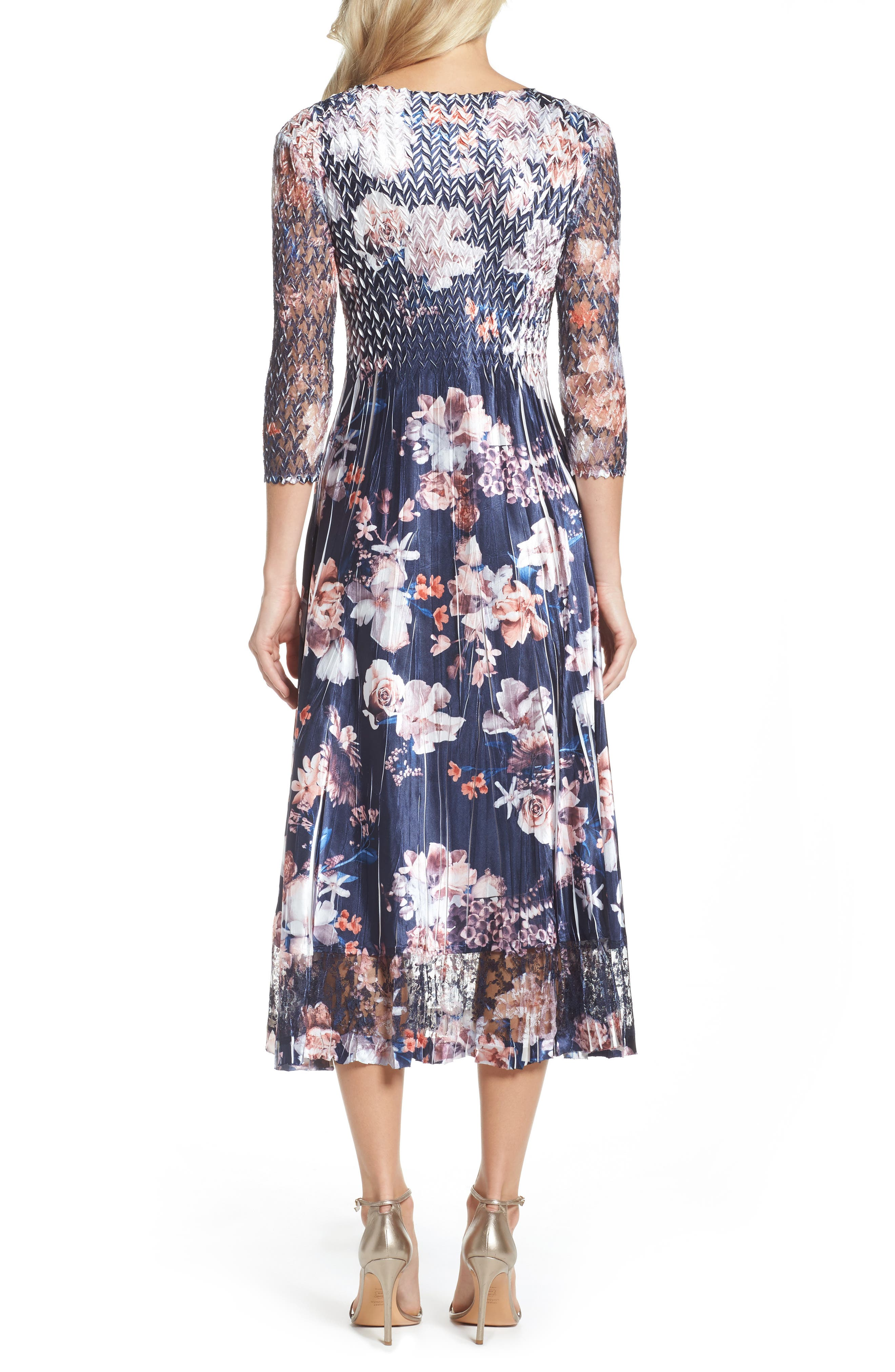 Print Charmeuse & Lace A-Line Dress,                             Alternate thumbnail 2, color,                             Amber Moon