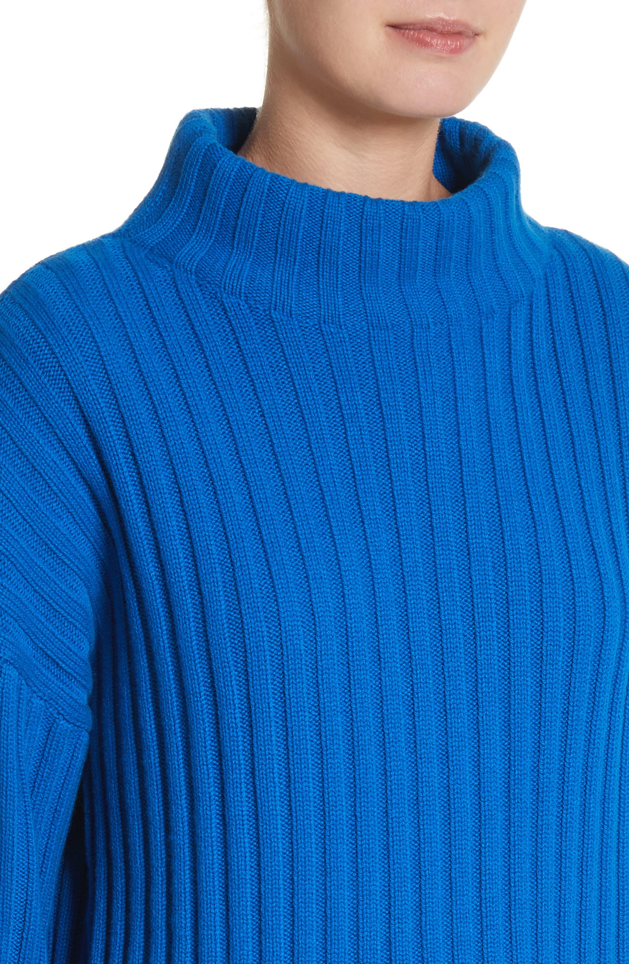 Cashmere Funnel Neck Pullover,                             Alternate thumbnail 4, color,                             Mediterranean