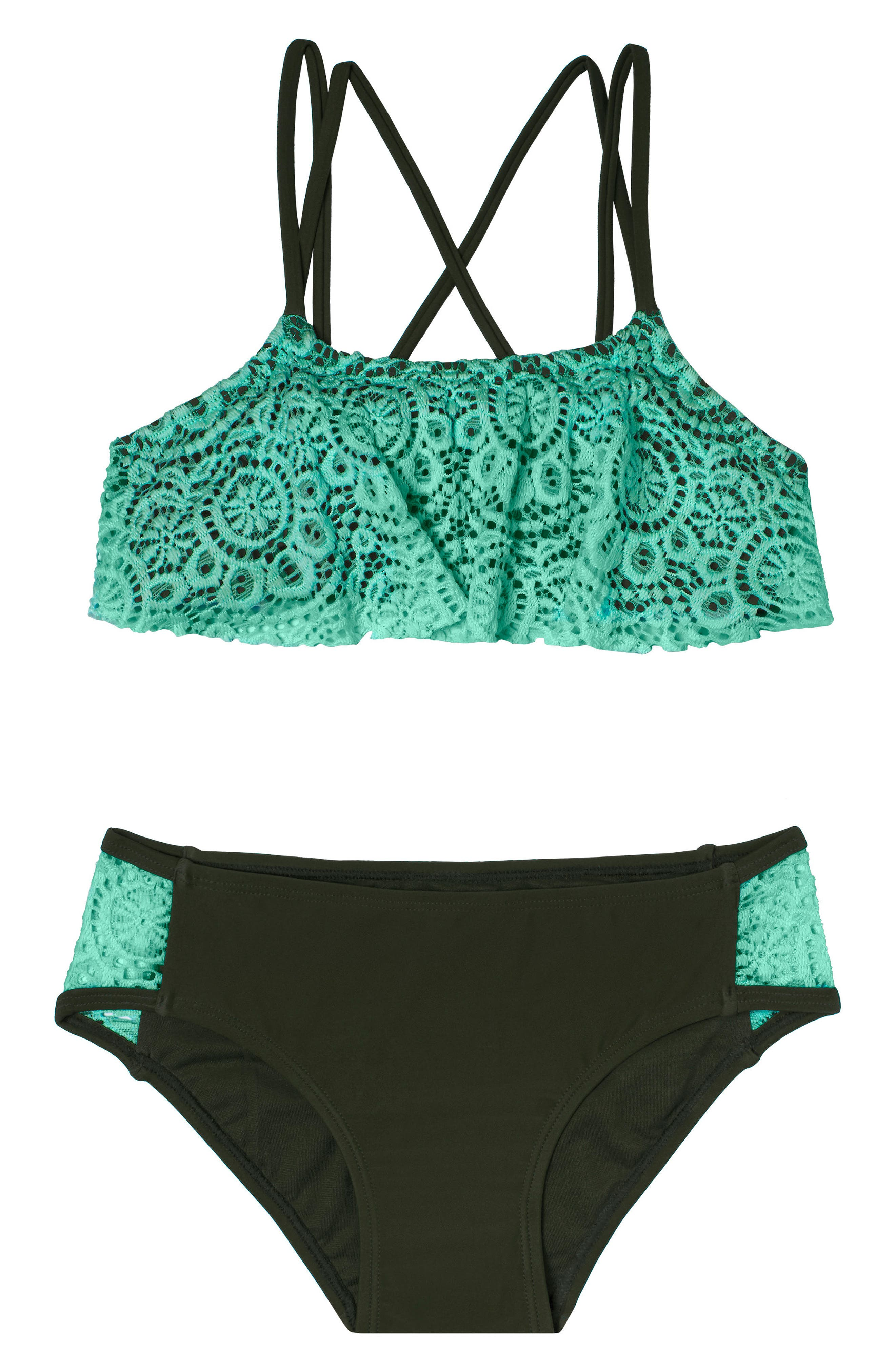 Festival Fantasy Two-Piece Swimsuit,                             Main thumbnail 1, color,                             Green