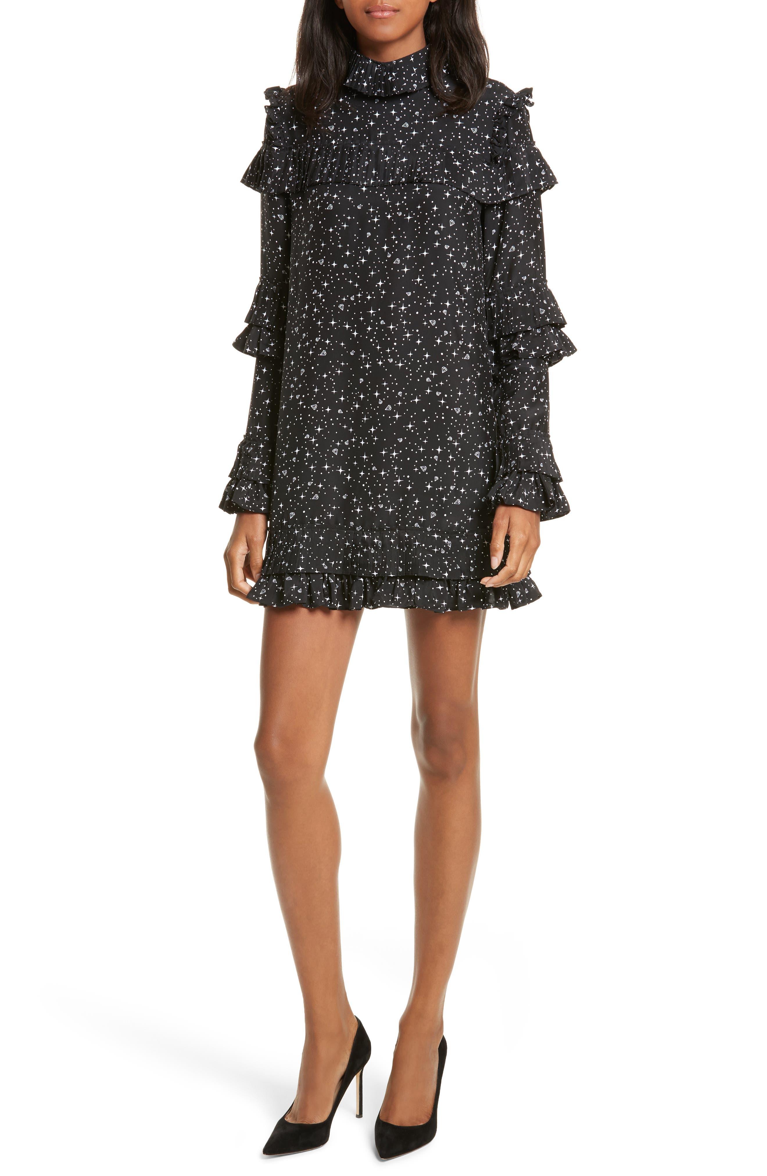 Ruffle Silk Dress,                         Main,                         color, Noir Multi