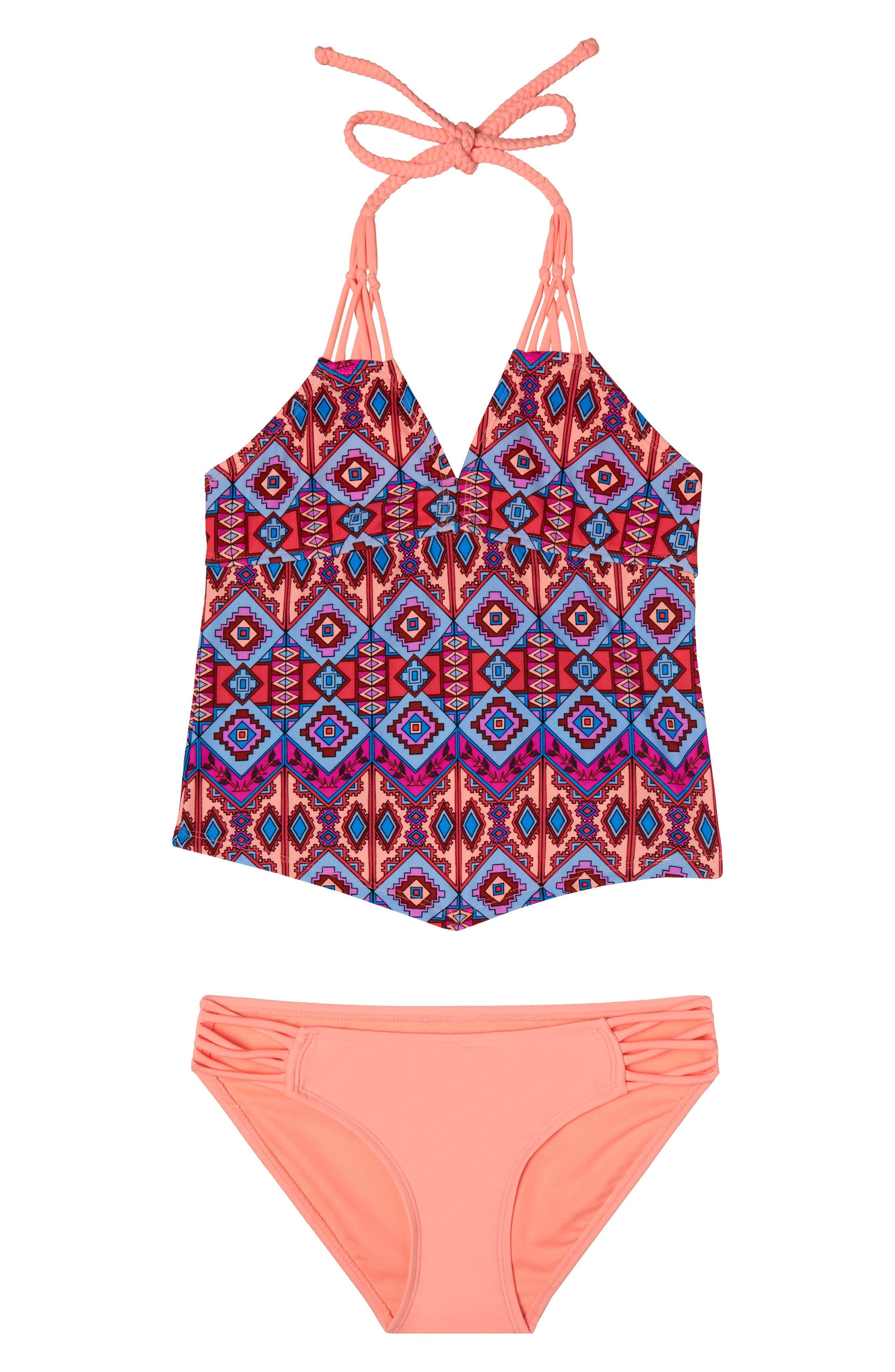 Brave Spirit Two-Piece Swimsuit,                             Main thumbnail 1, color,                             Coral