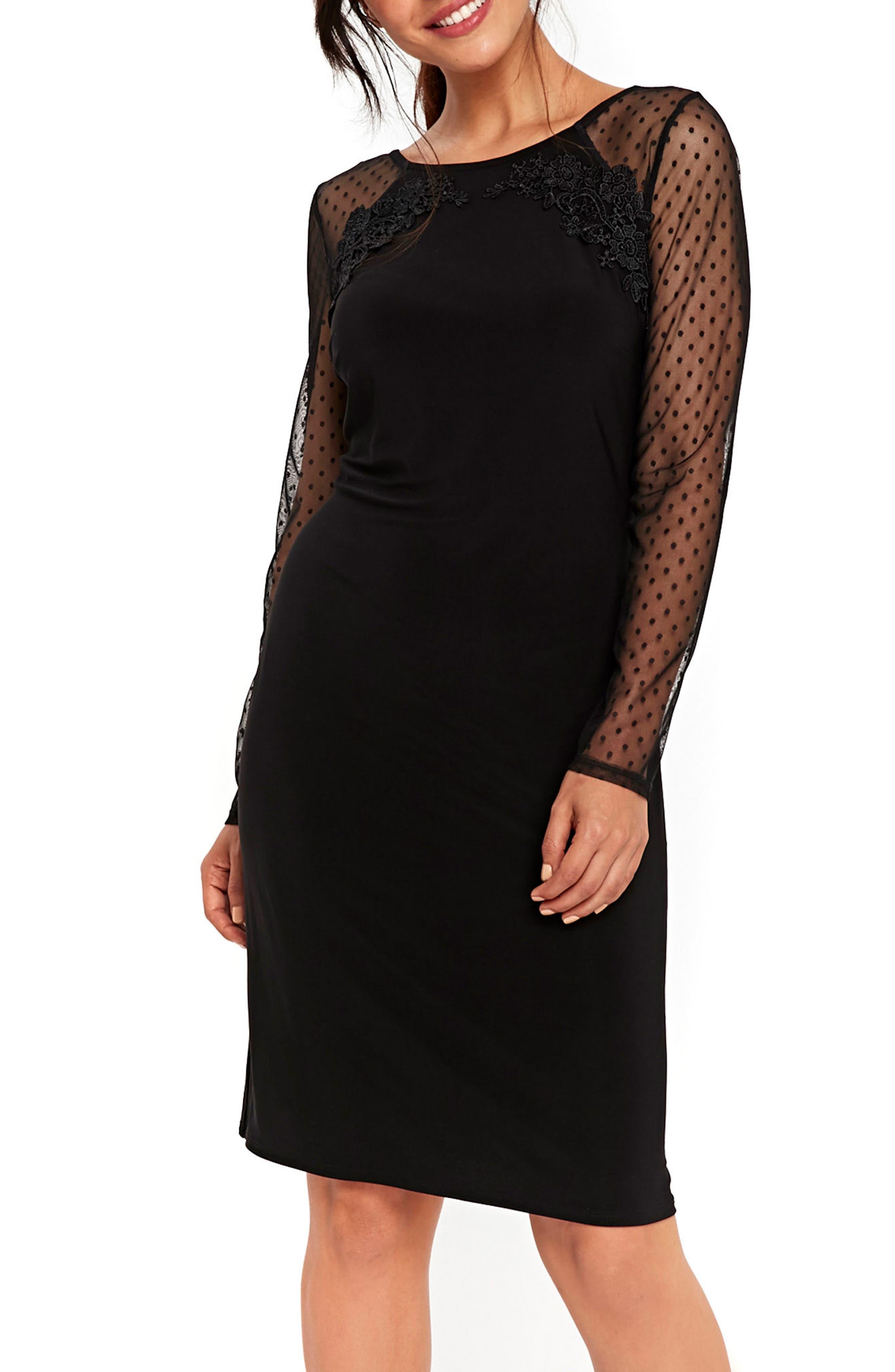Dot Mesh Sleeve Sheath Dress,                             Main thumbnail 1, color,                             Black