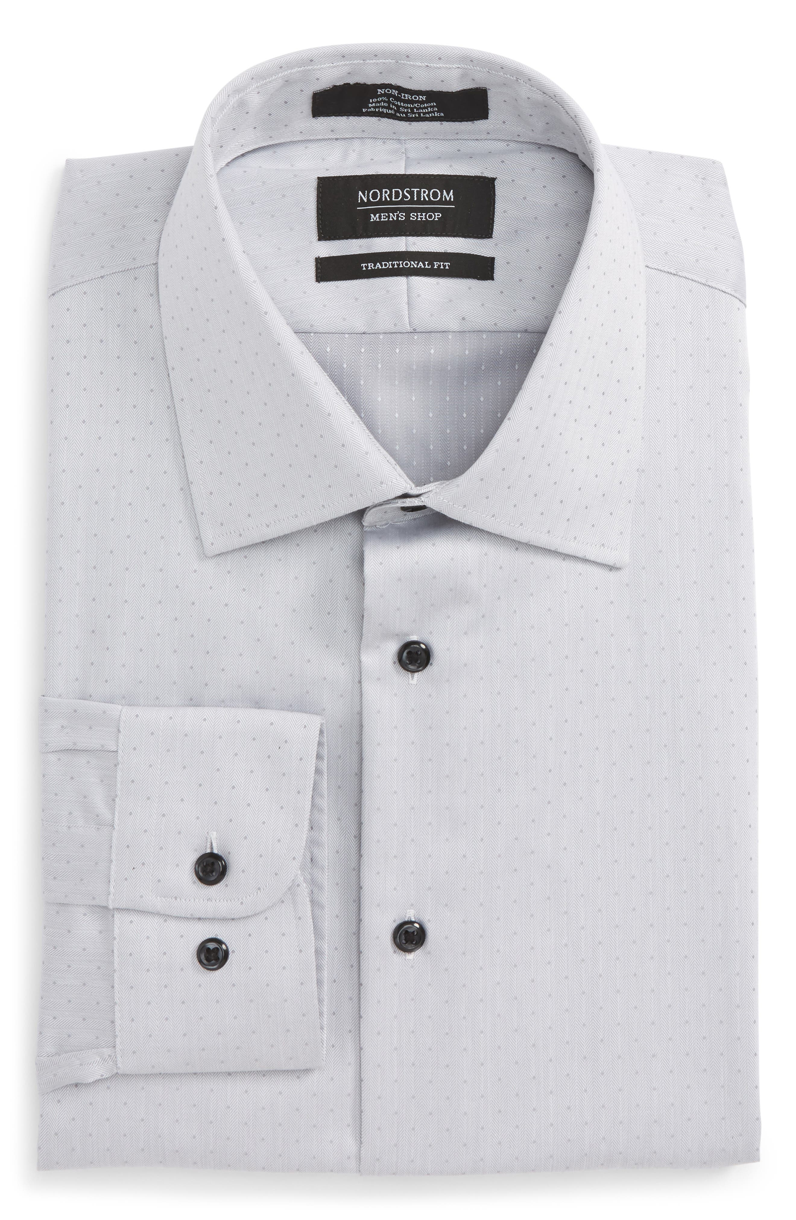 Traditional Fit Non-Iron Dress Shirt,                             Alternate thumbnail 6, color,                             Grey Lunar