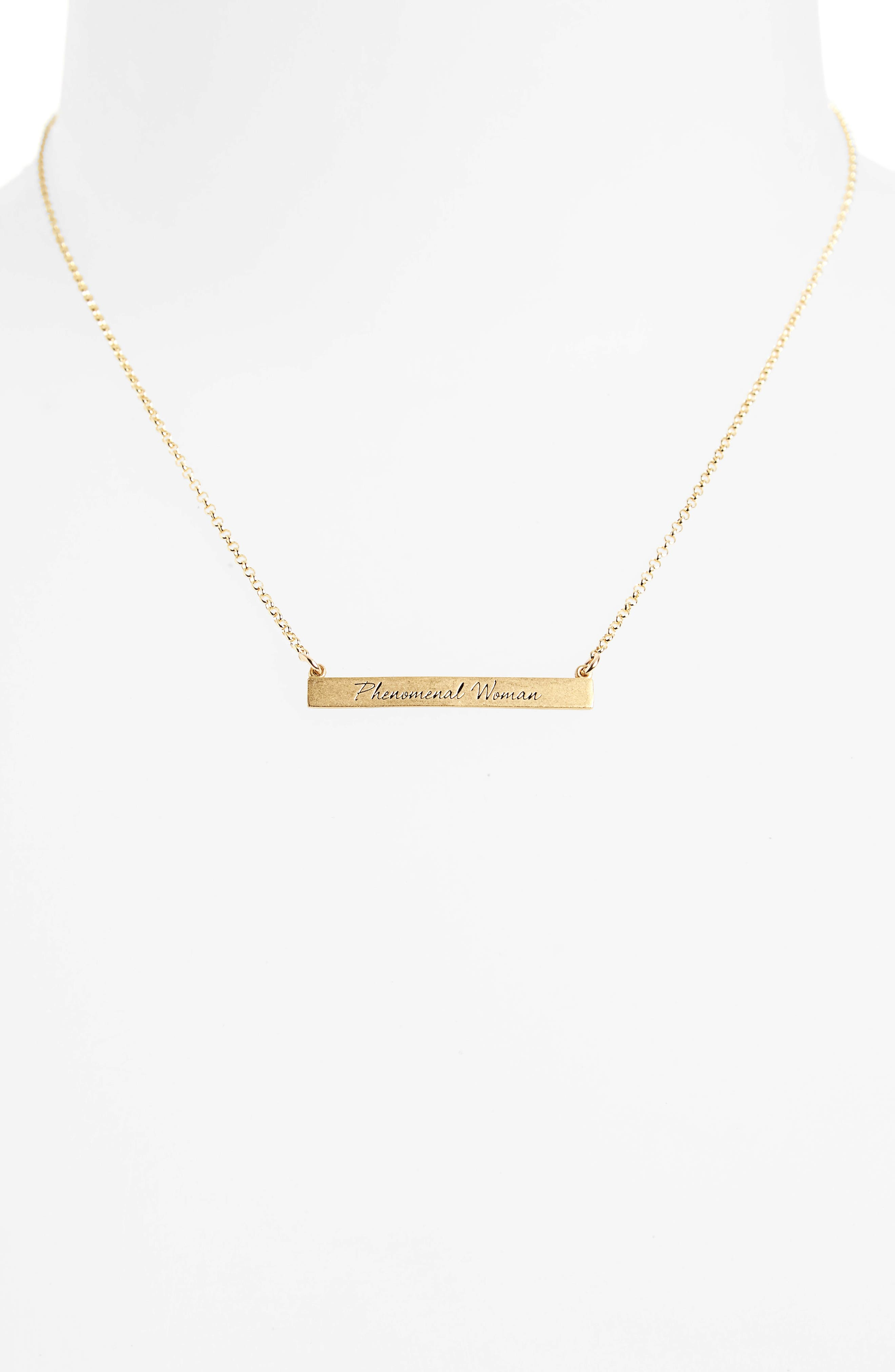 Legacy Collection - Phenomenal Women Bar Necklace,                             Alternate thumbnail 2, color,                             Gold