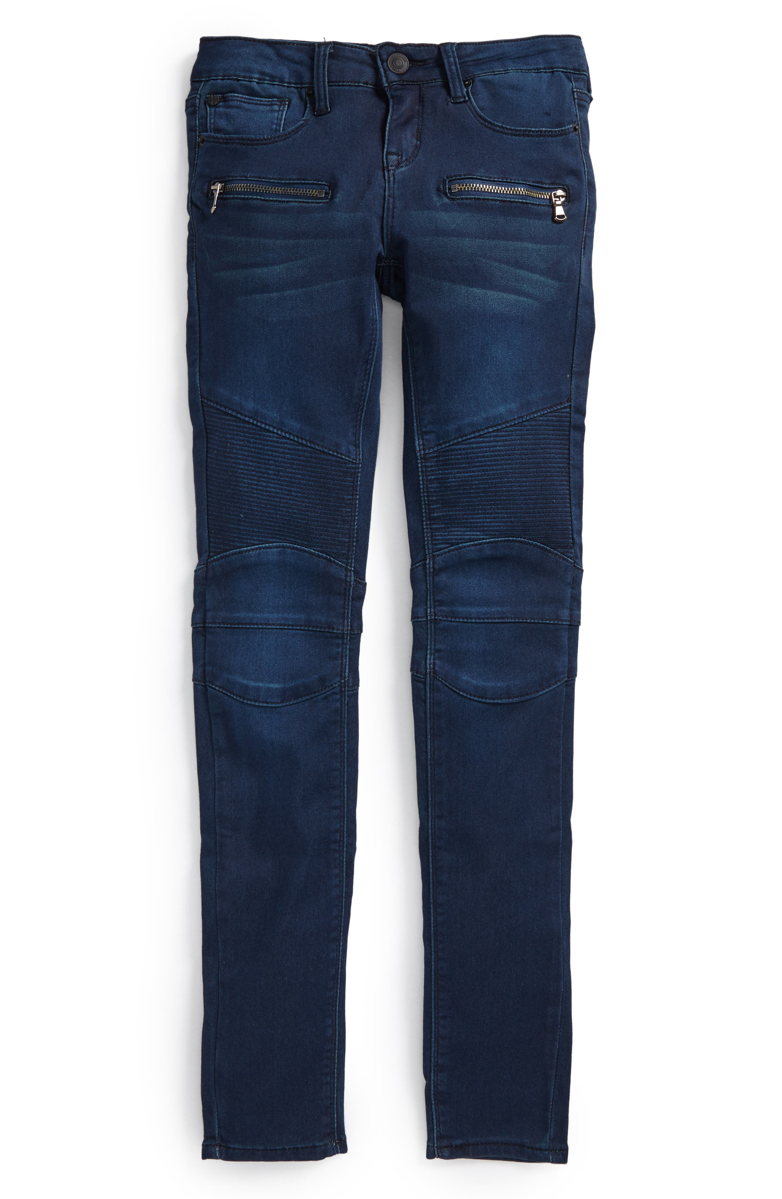 French Terry Moto Jeans,                         Main,                         color, Green