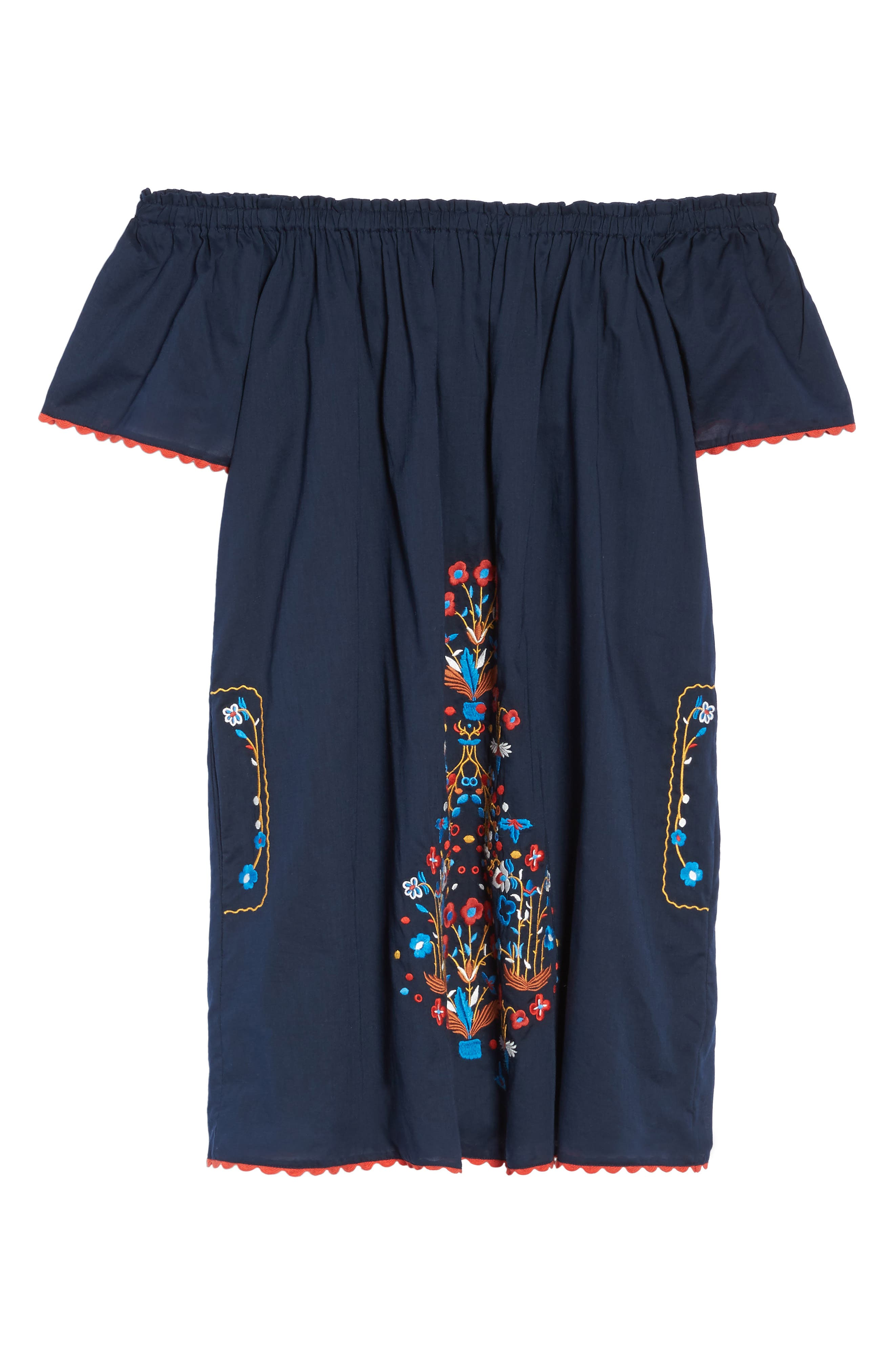 Wildflower Embroidered Off the Shoulder Cover-Up Dress,                             Alternate thumbnail 6, color,                             Tory Navy