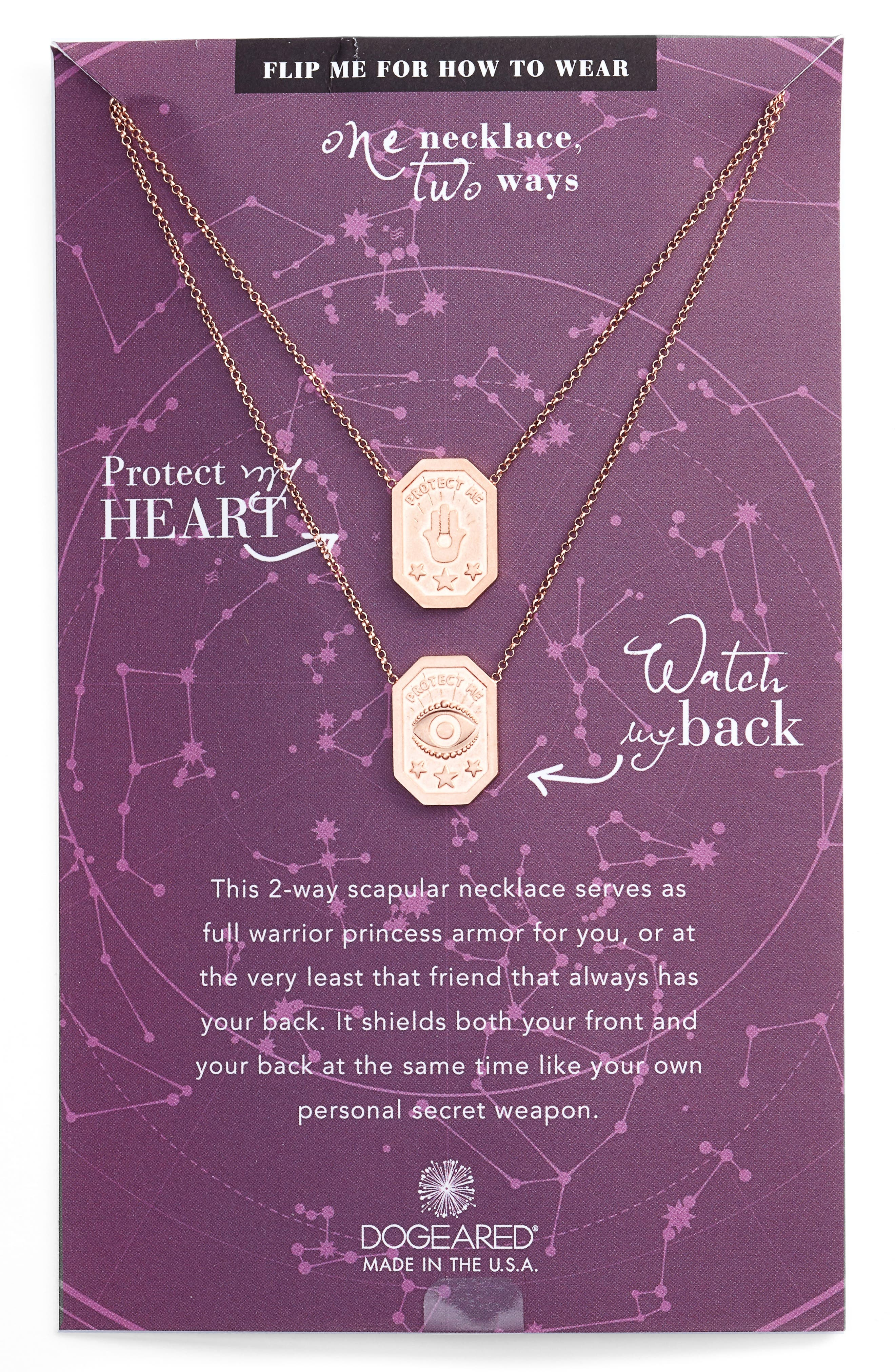 Dogeared Protect My Heart, Watch My Back Scapular Two-Way Necklace