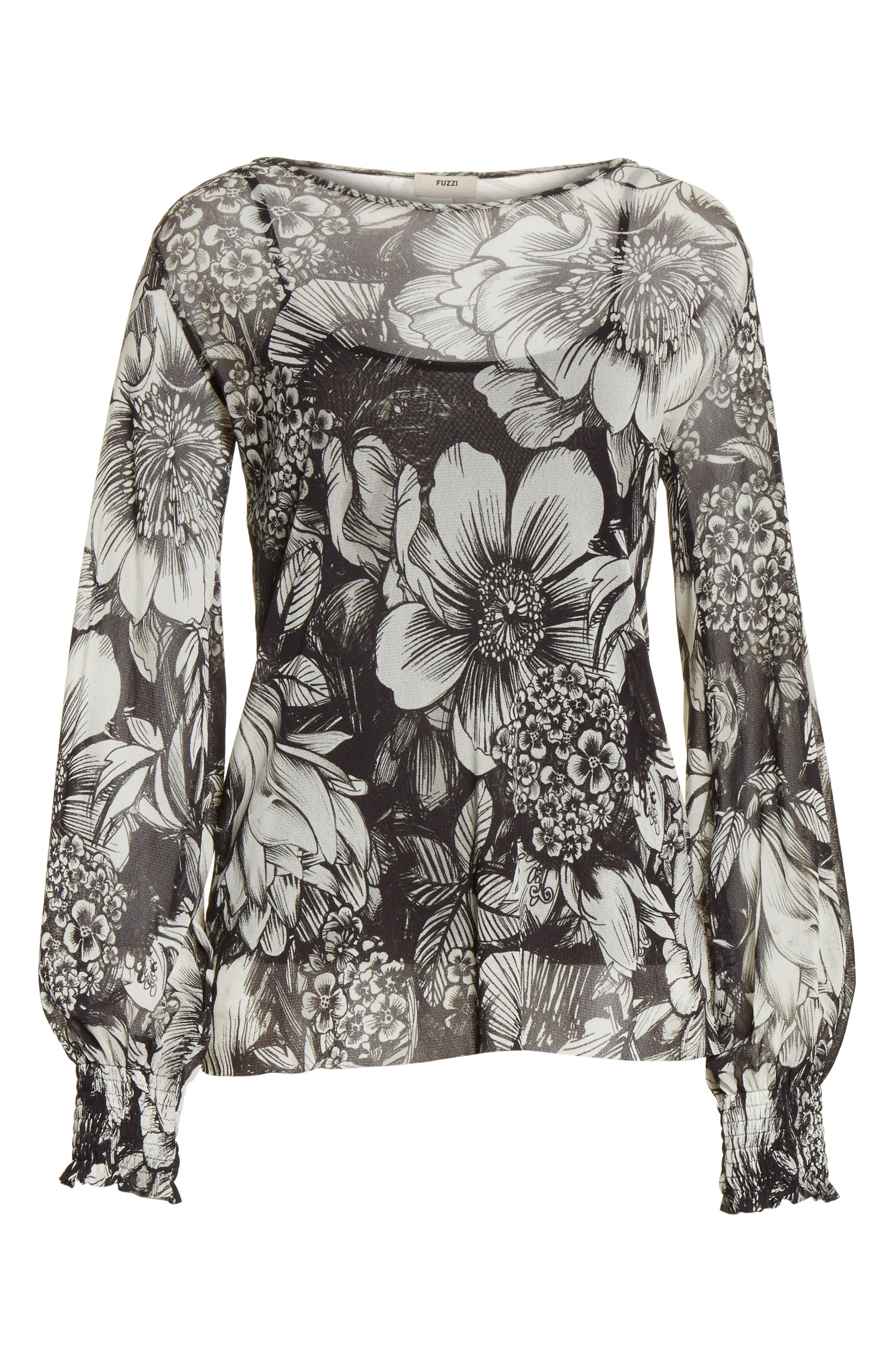 Alternate Image 6  - Fuzzi Floral Print Tulle Blouson Top