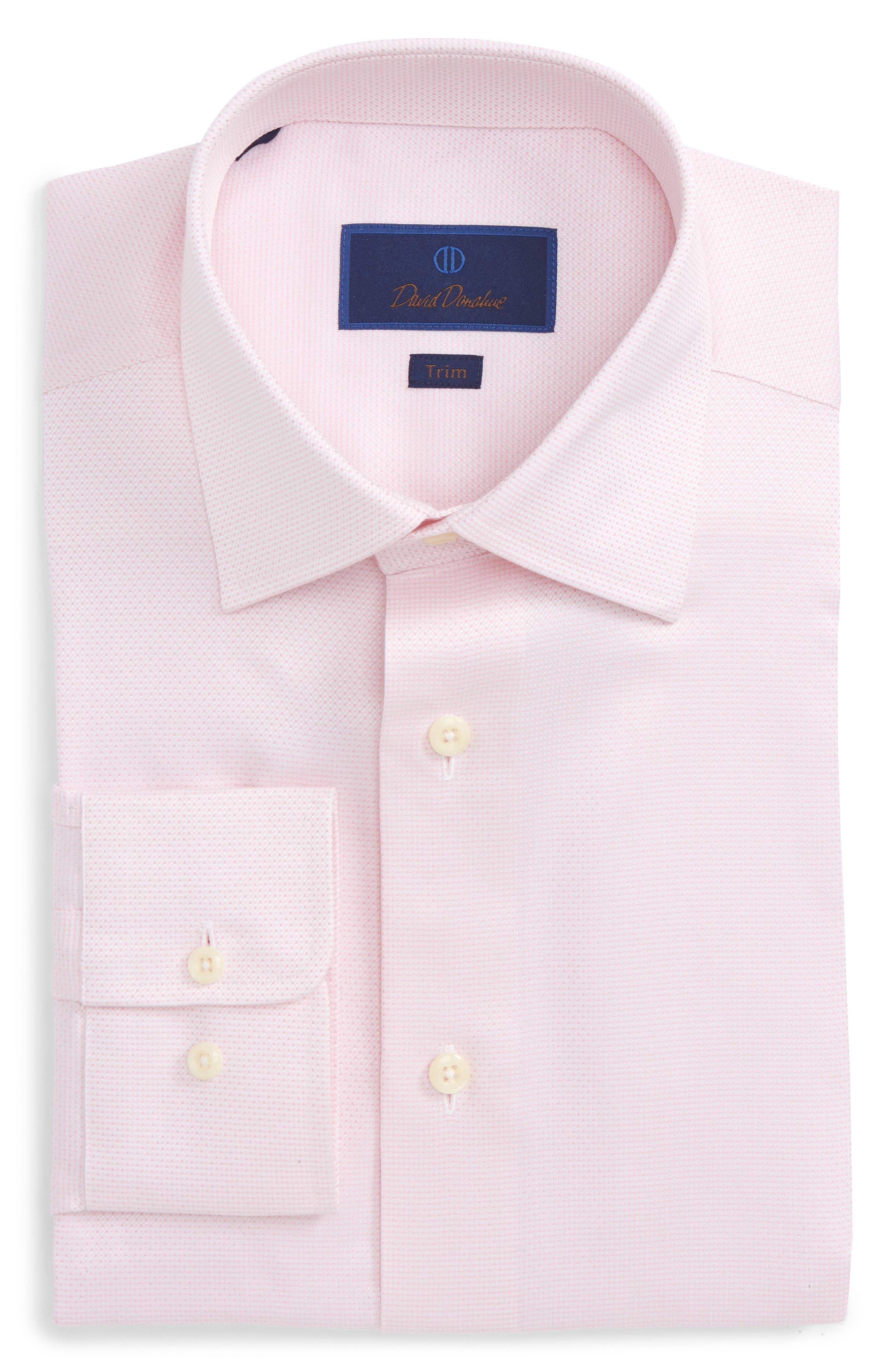 Trim Fit Microdot Dress Shirt,                         Main,                         color, Pink