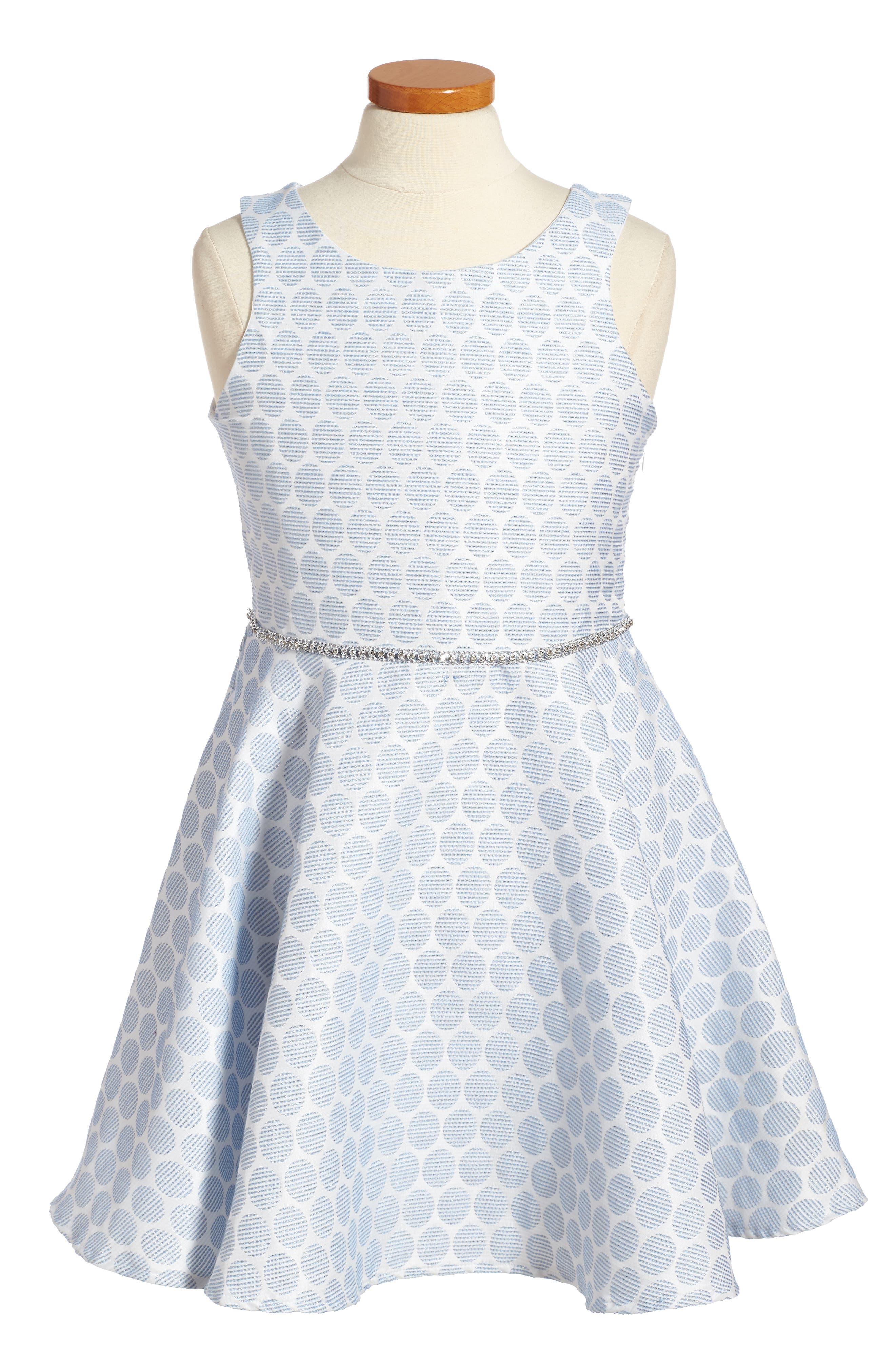 Monique Fit & Flare Dress,                         Main,                         color, Light Blue/ White