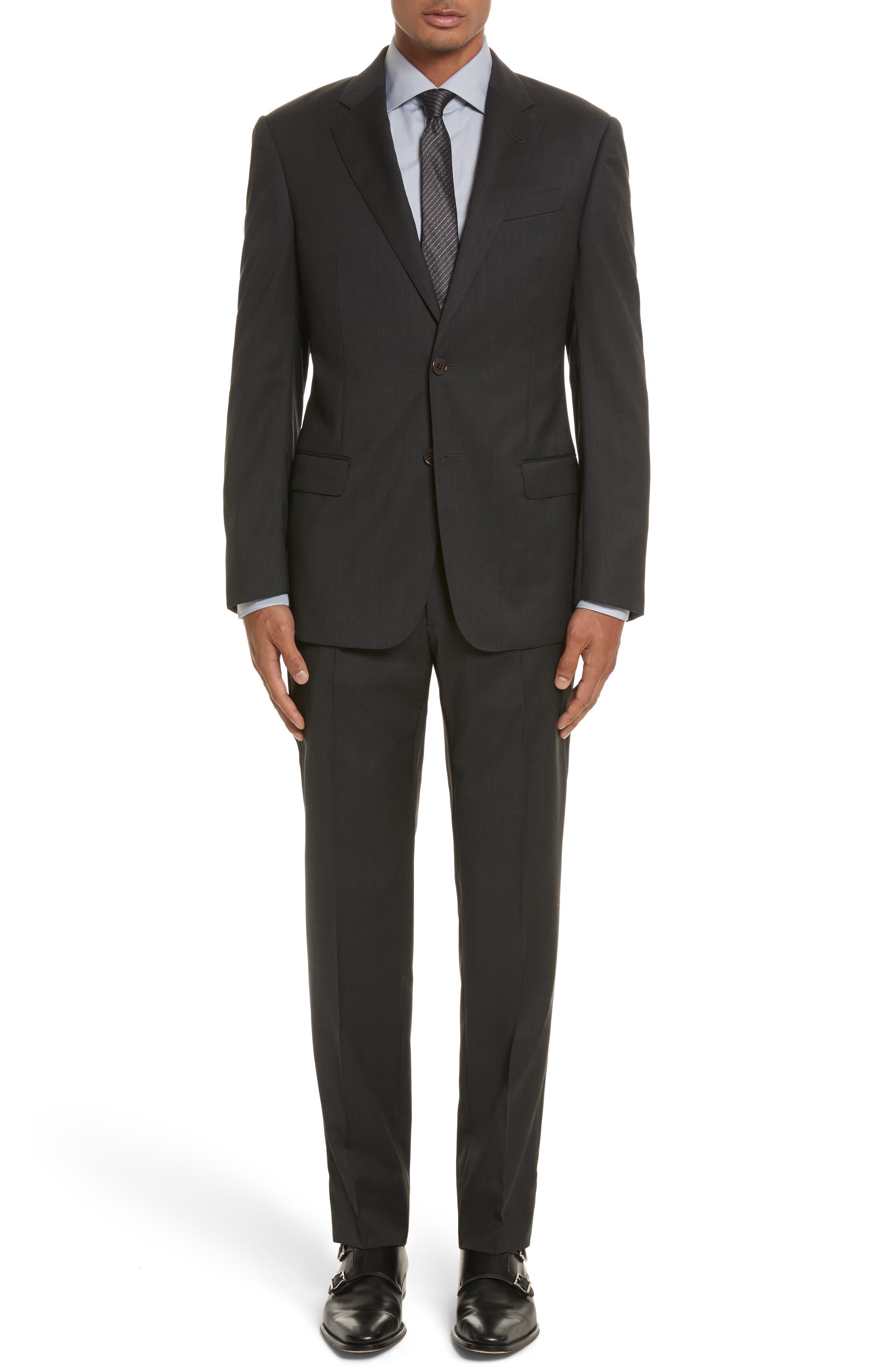 'G-Line' Trim Fit Solid Wool Suit,                             Main thumbnail 1, color,                             Charcoal