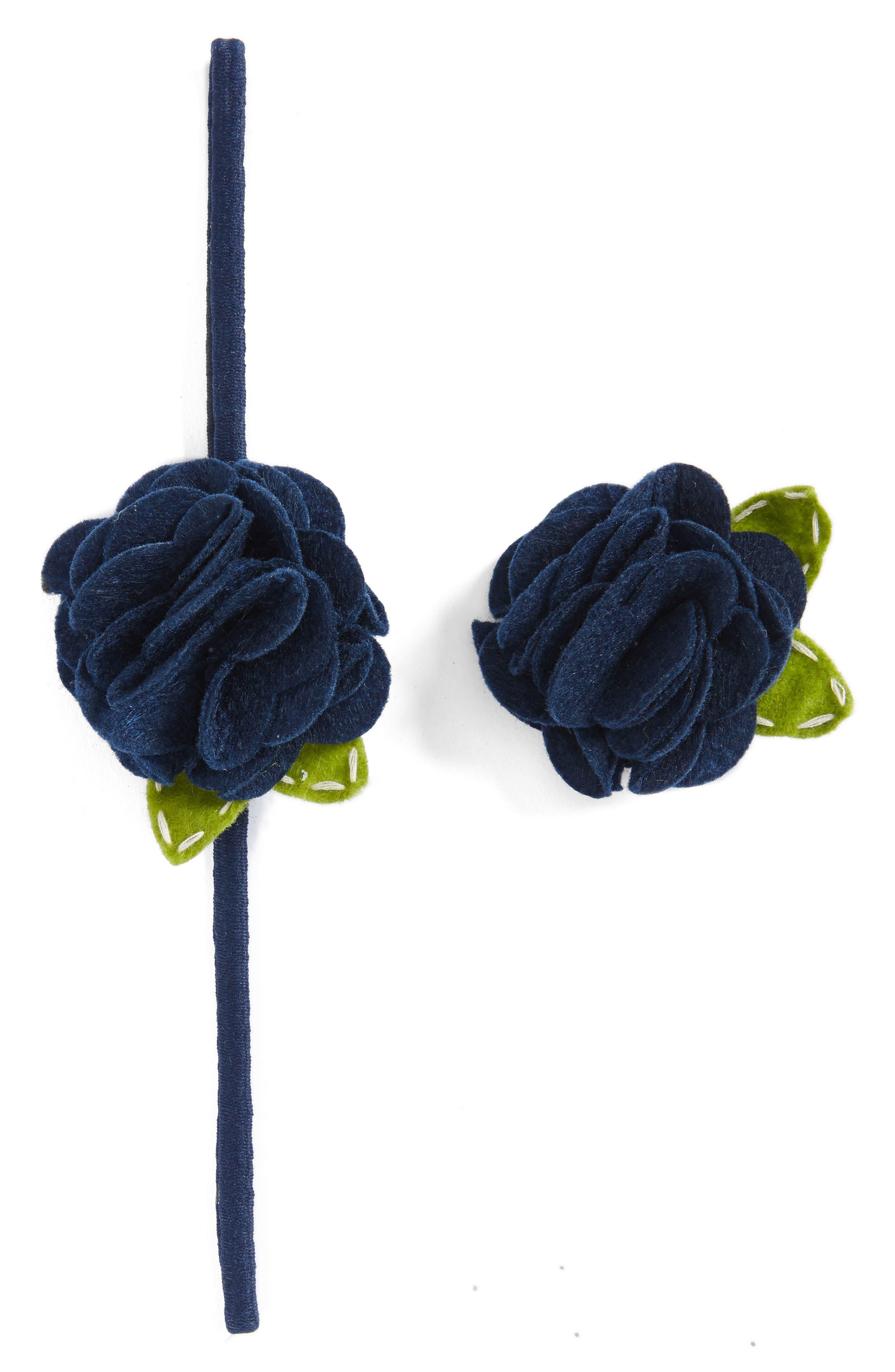 PLH Bows & Laces Rose Headband & Hair Clip Set (Baby Girls)