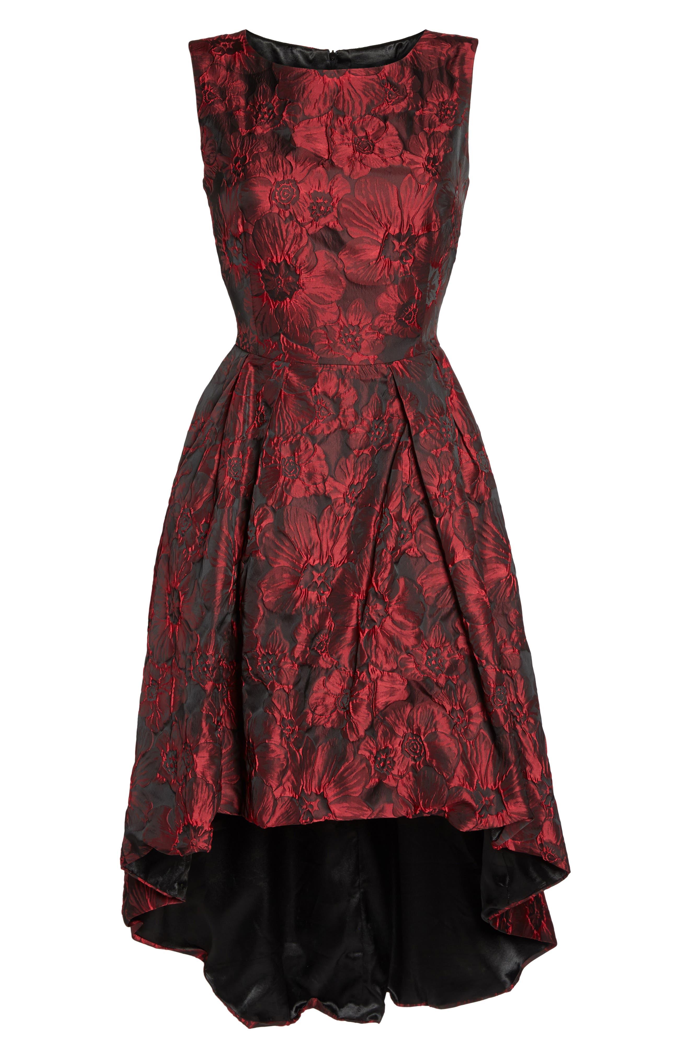Jacquard High/Low Dress,                             Alternate thumbnail 6, color,                             Red & Black