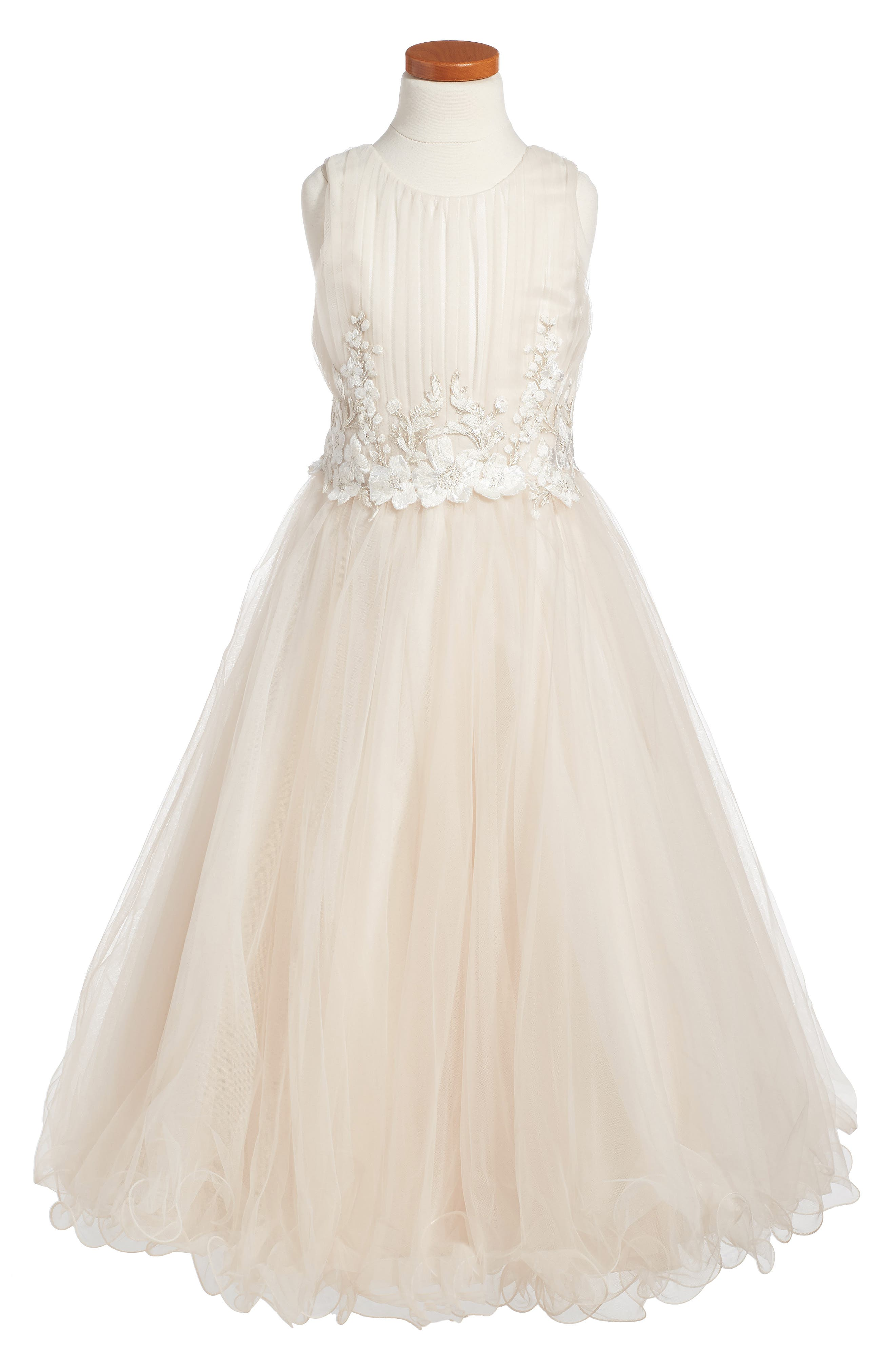 Lace & Tulle Dress,                             Main thumbnail 1, color,                             Stone/ Oyster