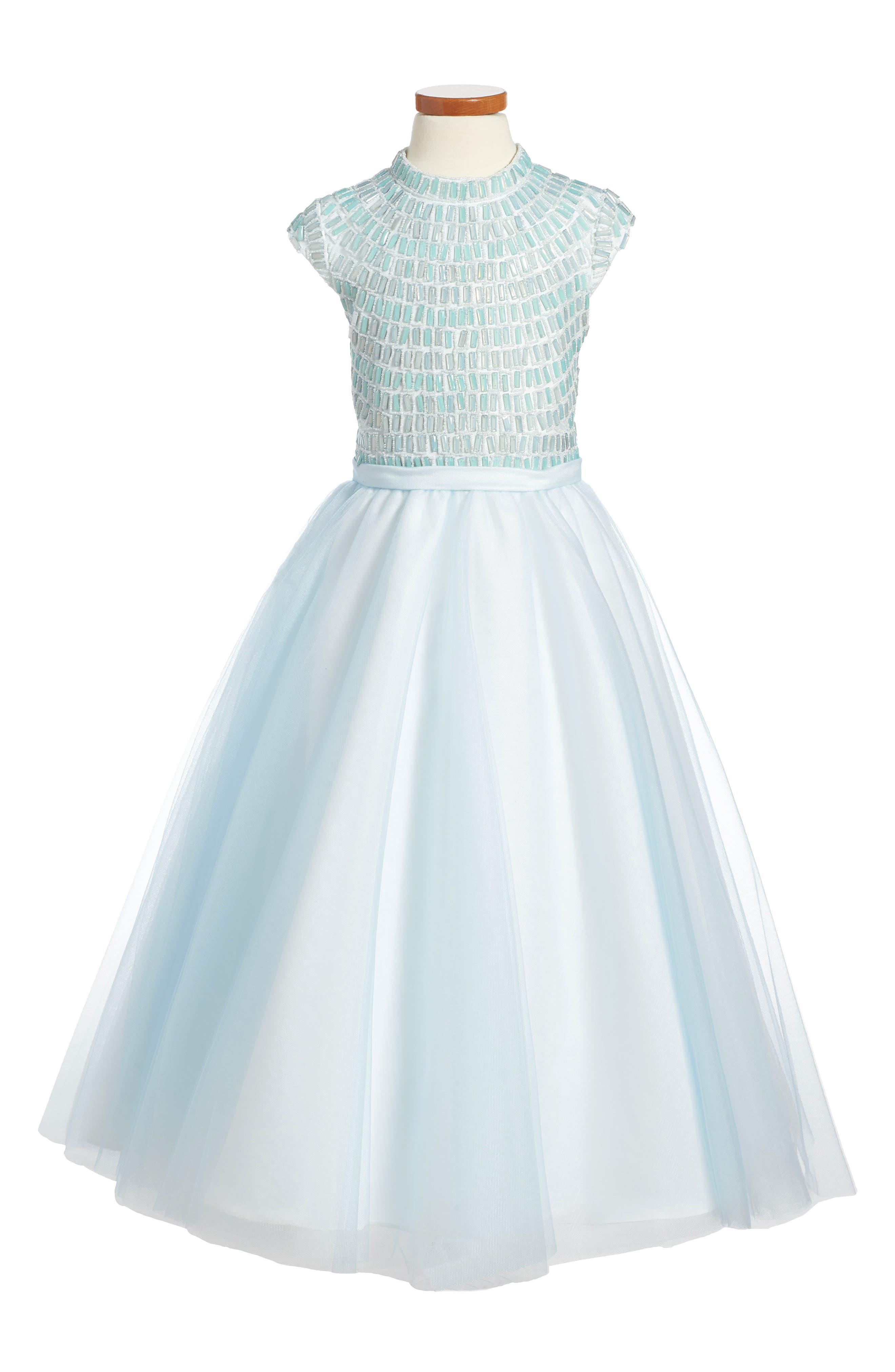 Alternate Image 1 Selected - Joan Calabrese for Mon Cheri Beaded Dress (Little Girls & Big Girls)
