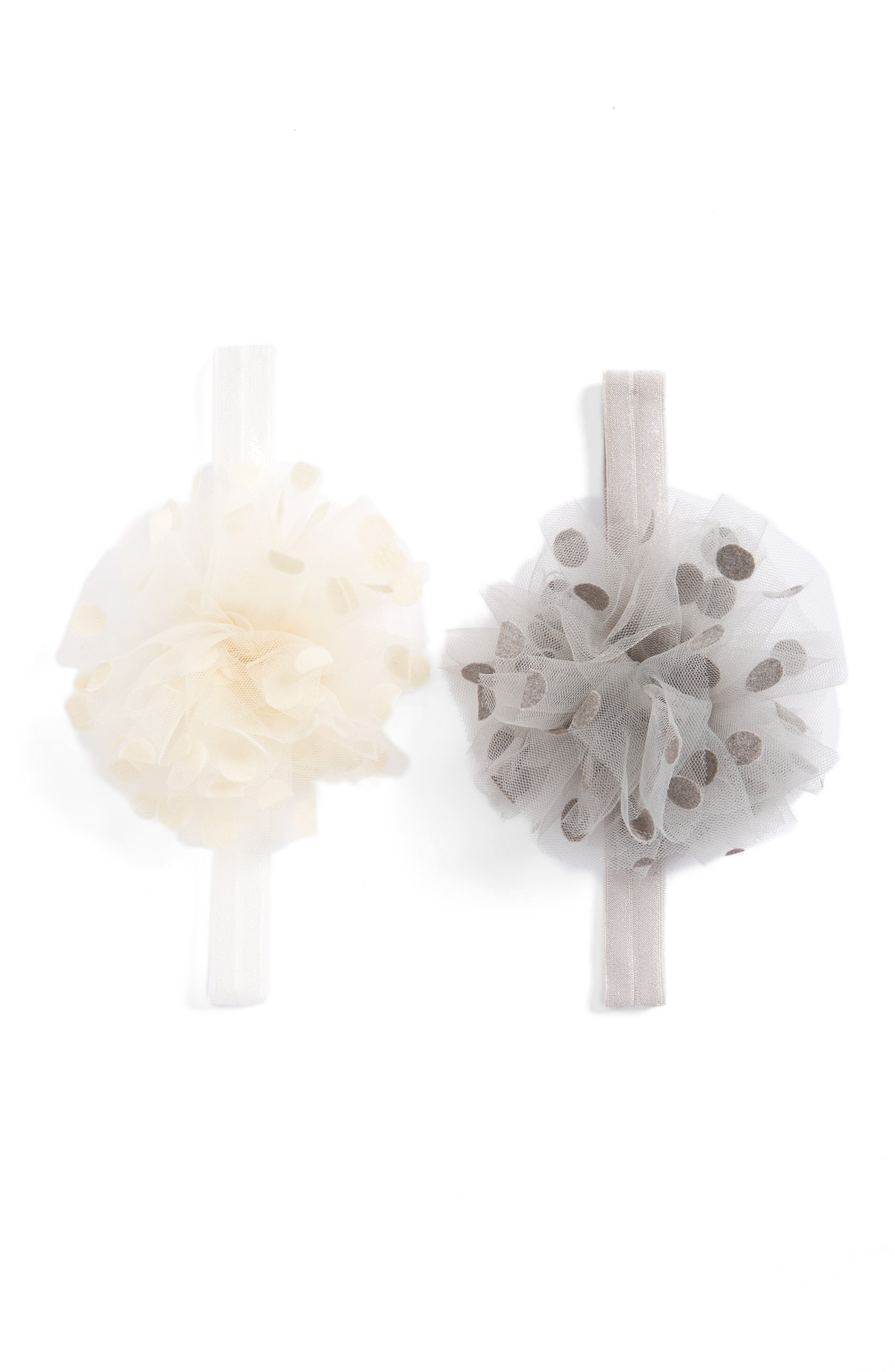 Tulle 2-Pack Headbands,                         Main,                         color, Antique White/Gray