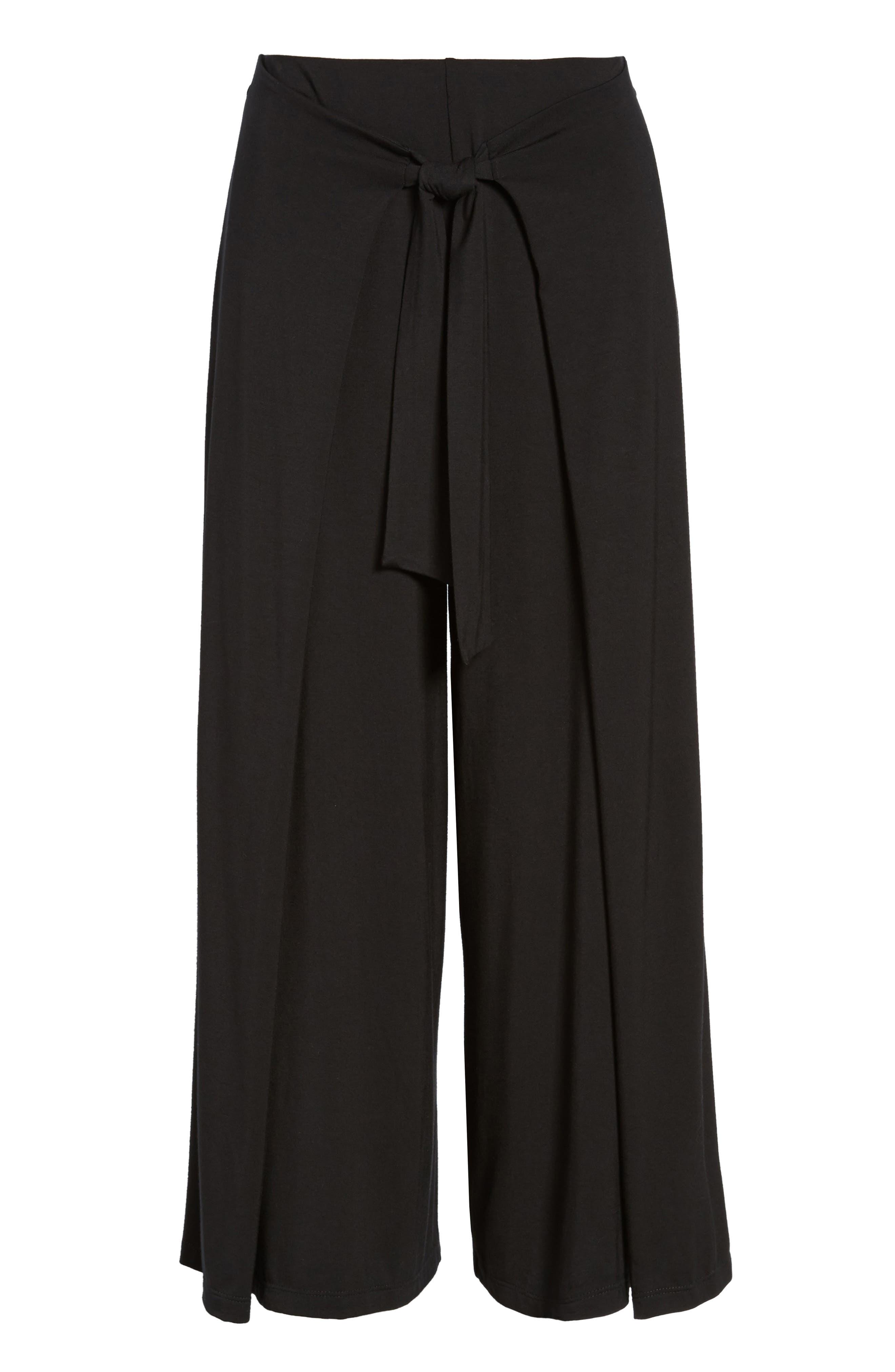 Tie Front Wide Leg Pants,                             Alternate thumbnail 6, color,                             Black