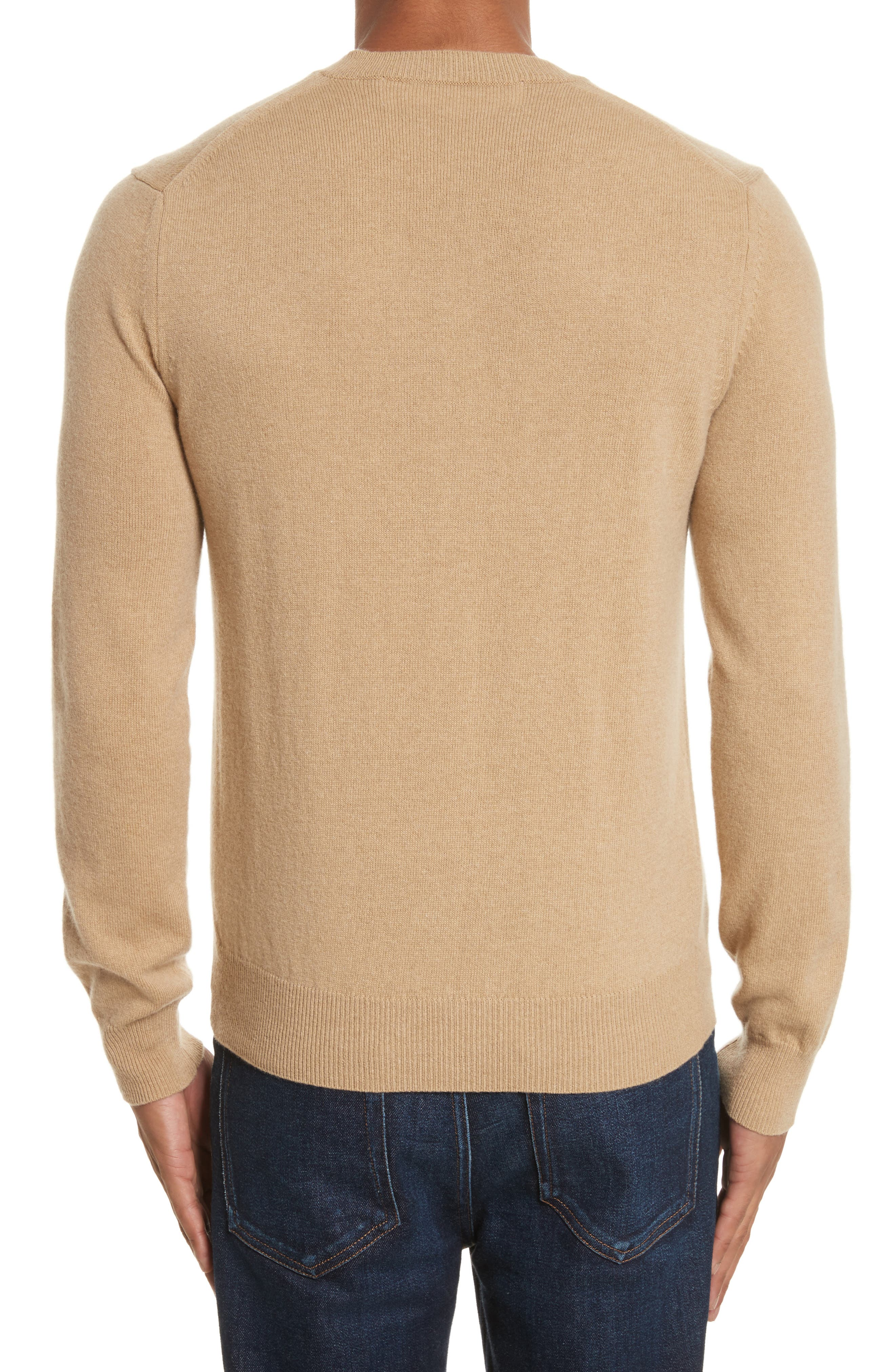 Comme des Garçons PLAY White Heart Wool V-Neck Sweater,                             Alternate thumbnail 2, color,                             Camel