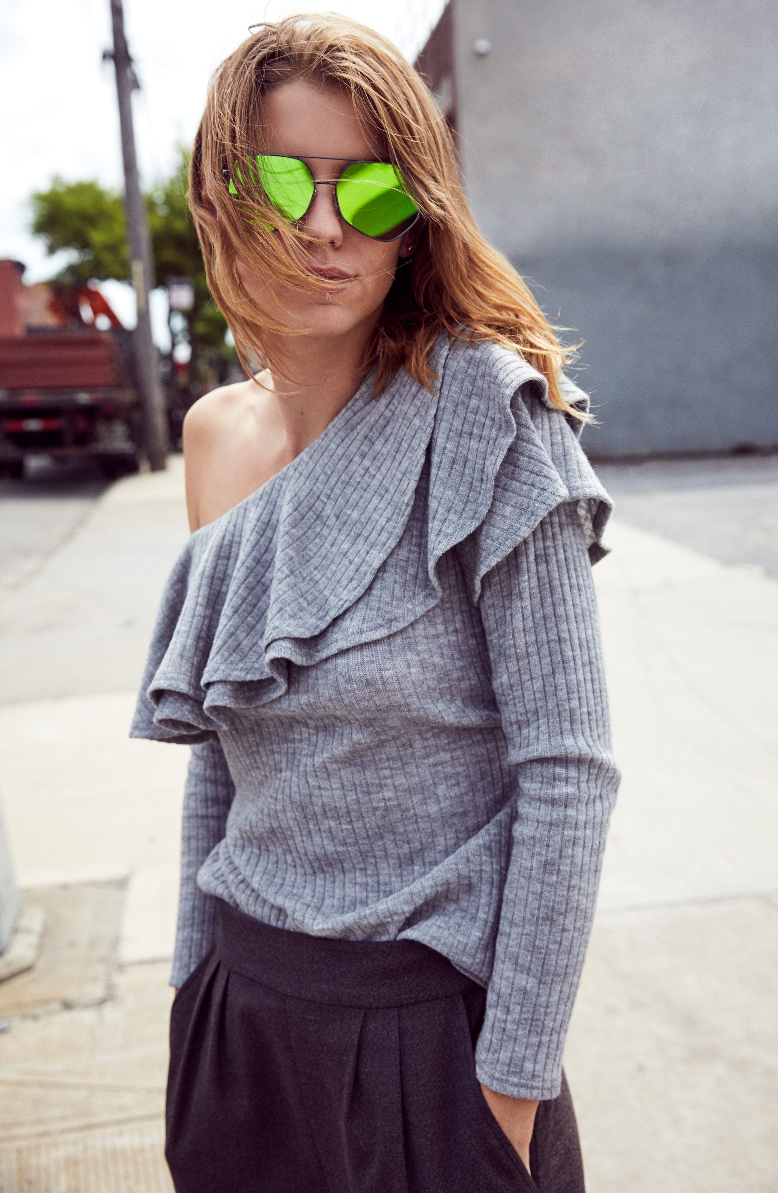 Alternate Image 6  - STOREE Ruffle One-Shoulder Sweater