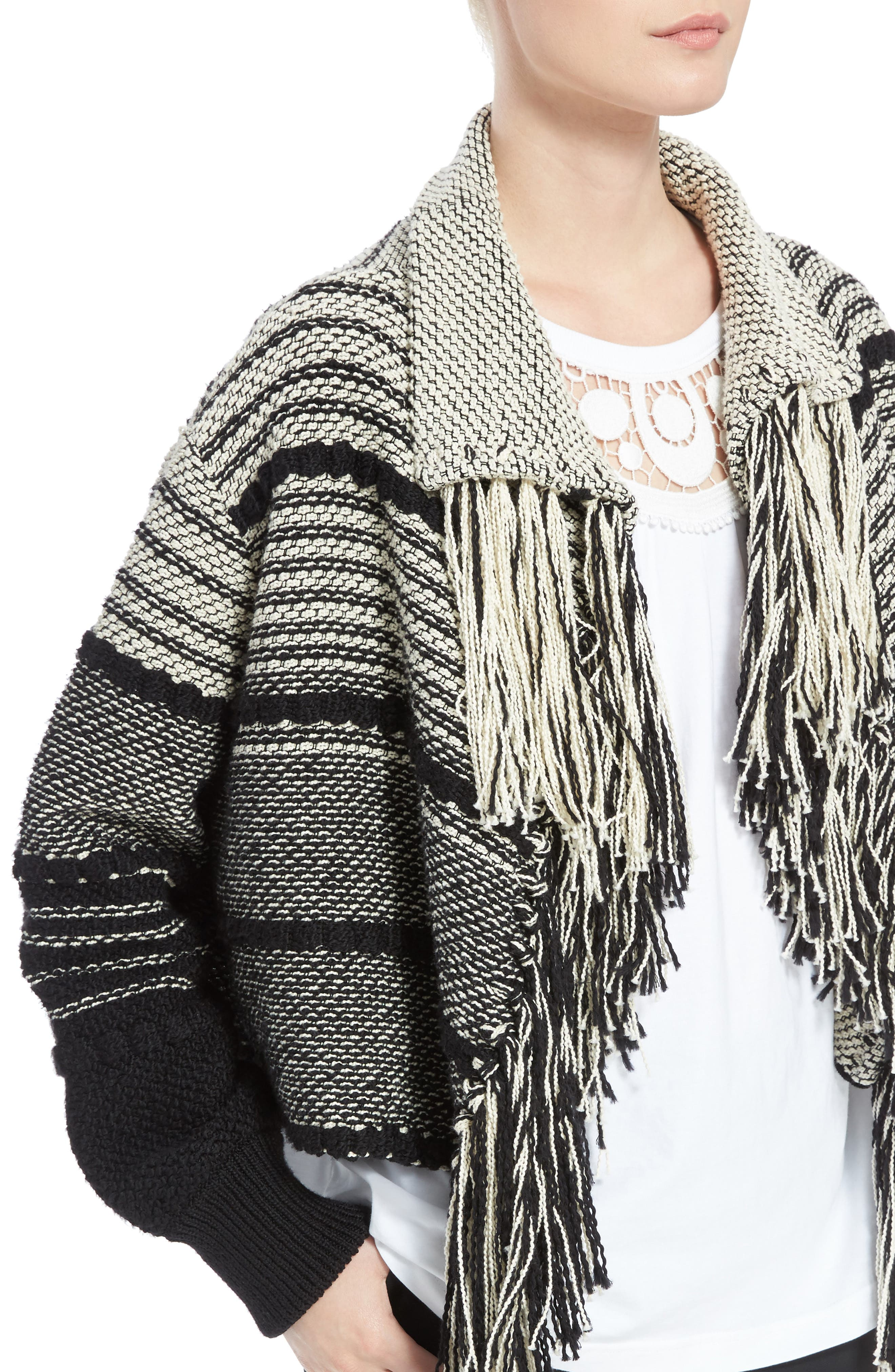 Alternate Image 4  - Chloé Fringe Trim Stripe Cardigan