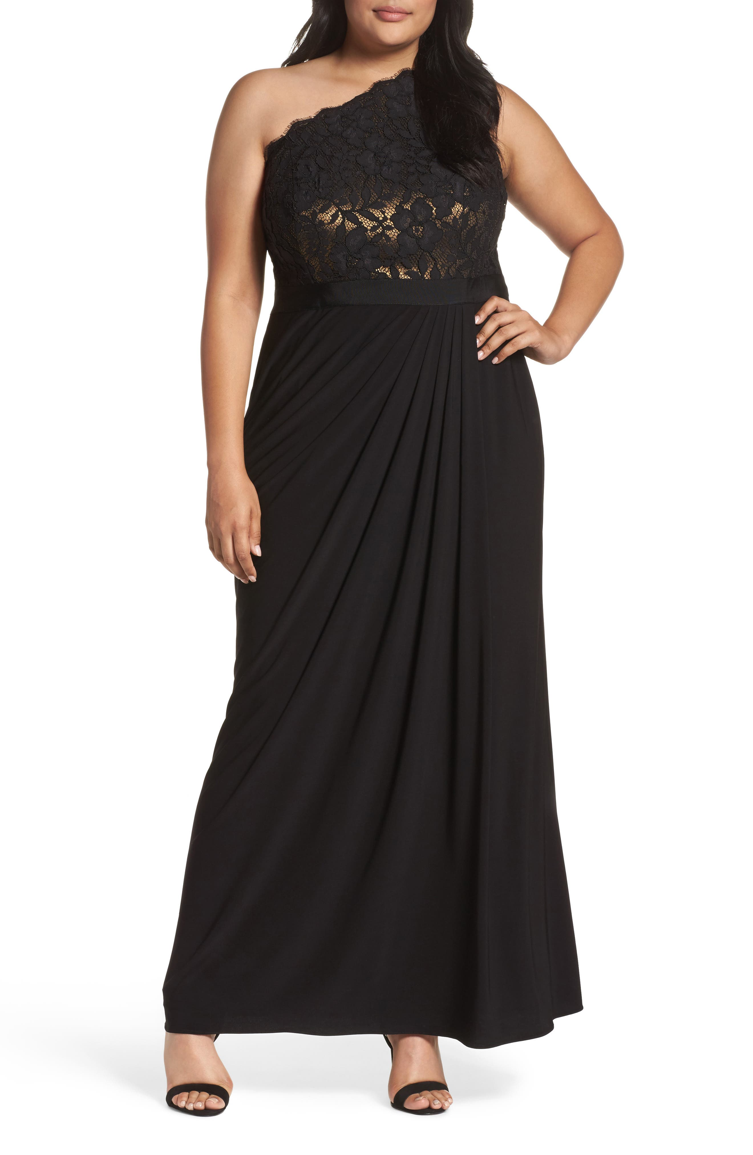 Metallic Lined Lace & Chiffon One-Shoulder Gown,                             Main thumbnail 1, color,                             Black/ Copper