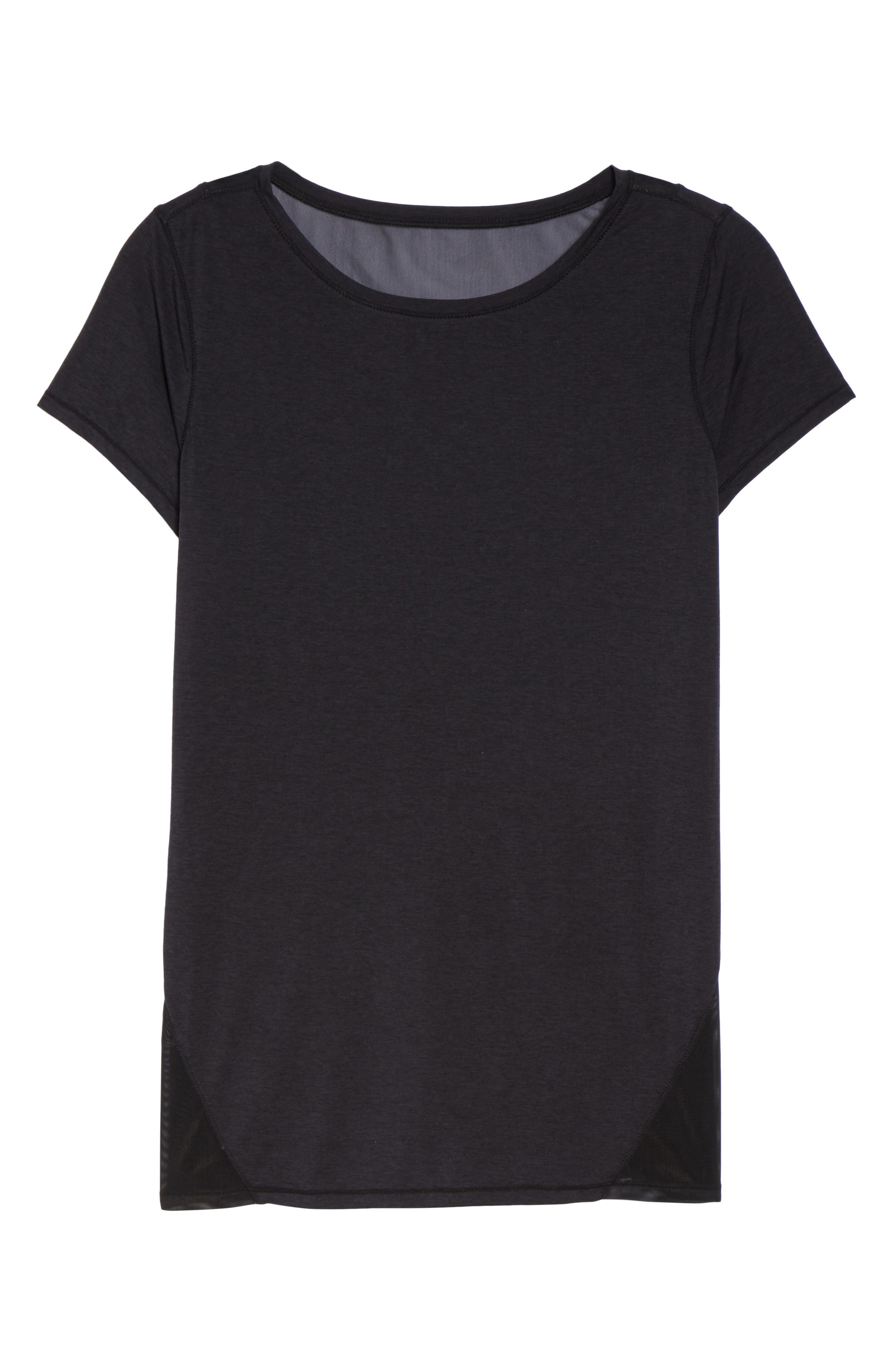 Fiona Mesh Inset Tee,                             Alternate thumbnail 11, color,                             Black