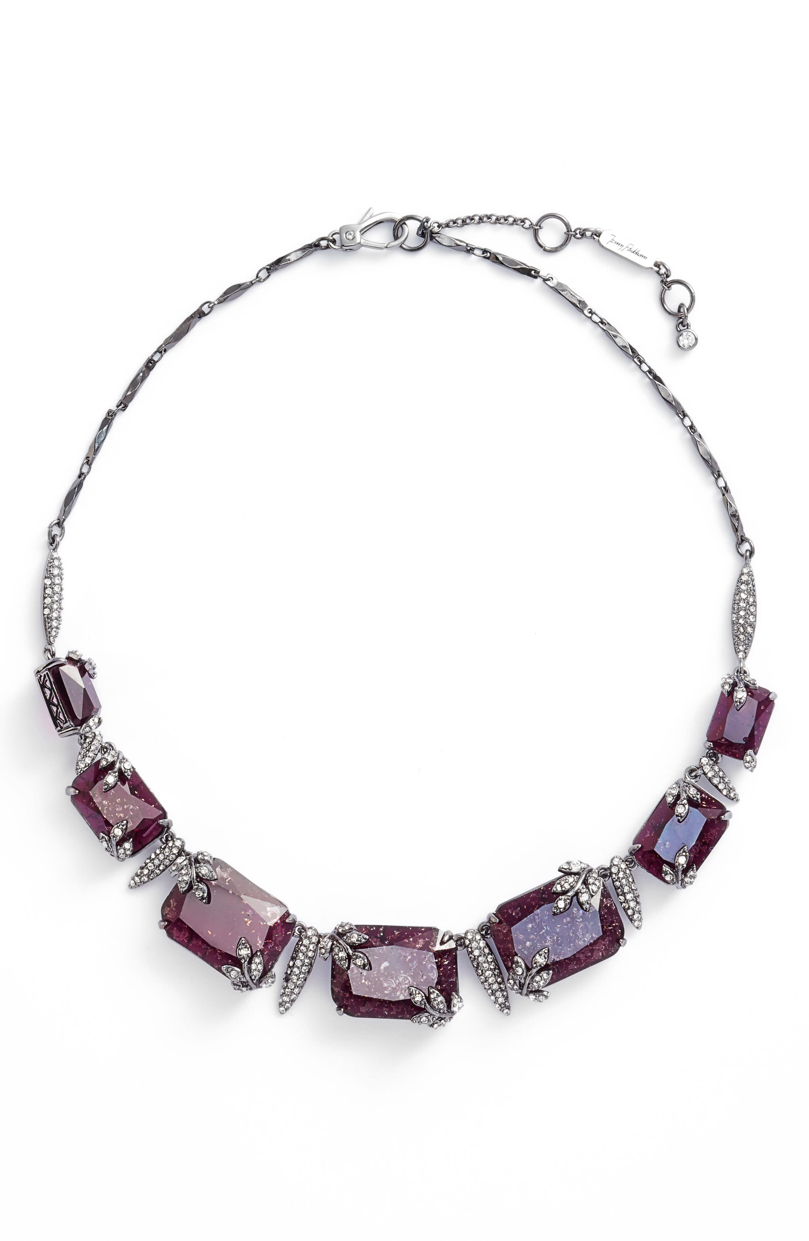 Frontal Necklace,                             Main thumbnail 1, color,                             Burgundy